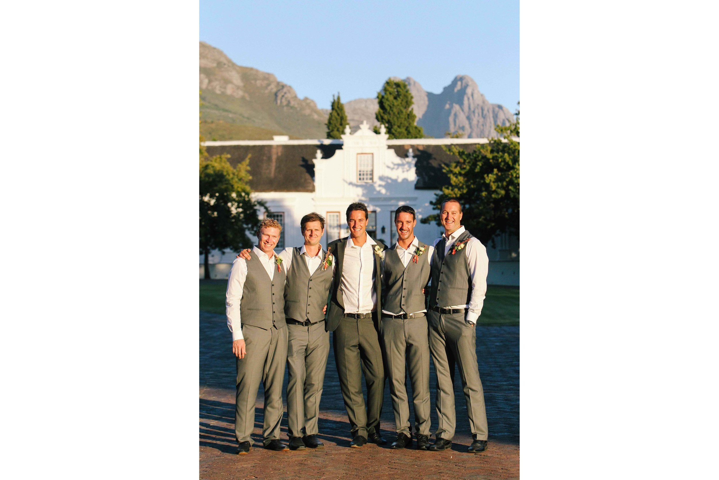 The groom with all his groomsmen at Lanzerac Estate.