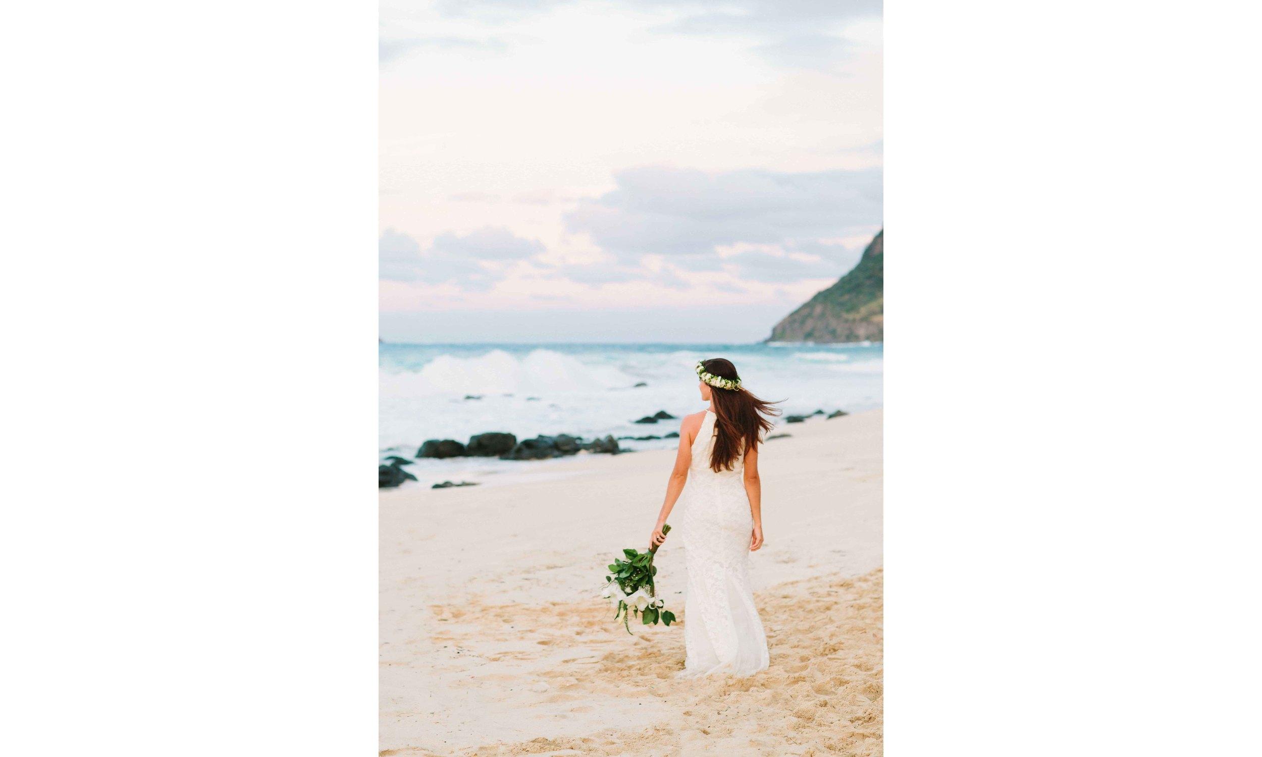 Bride on Hawaii Beach