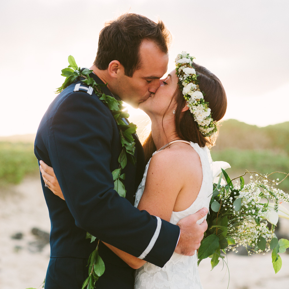 Hawaii Beach Wedding Kiss