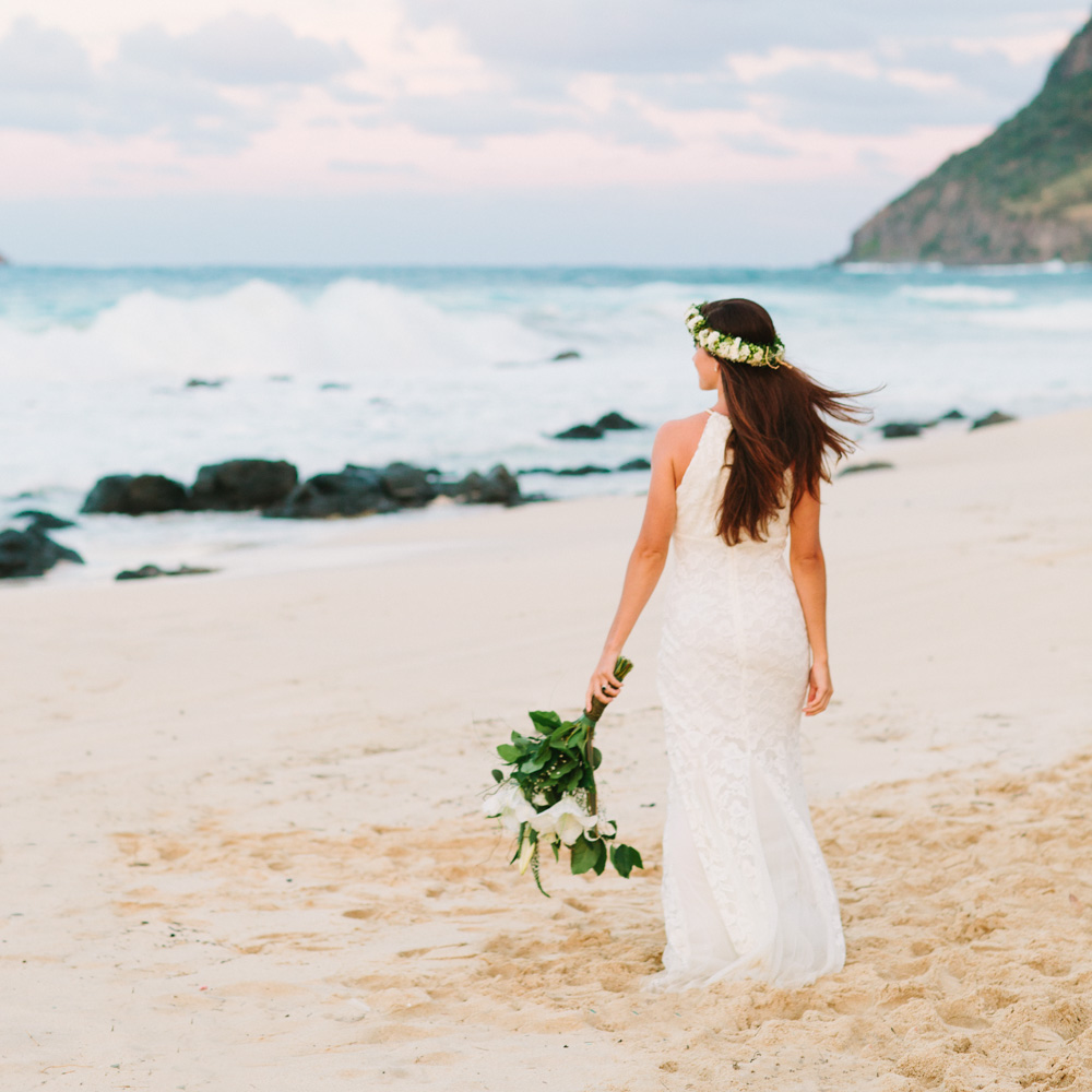 Oahu Beach Wedding Bride