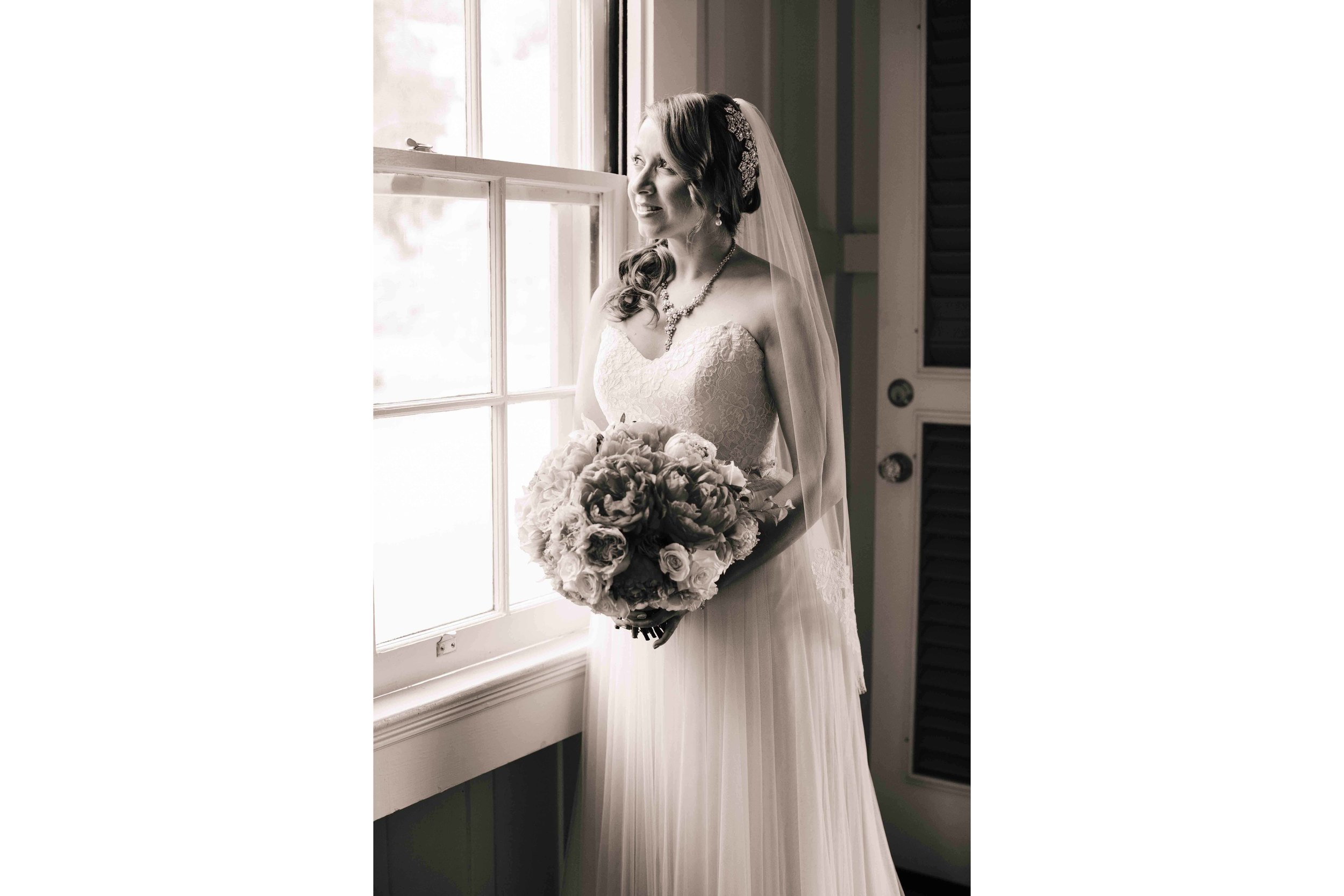 Black and White Photograph of Bride at Dillingham Ranch