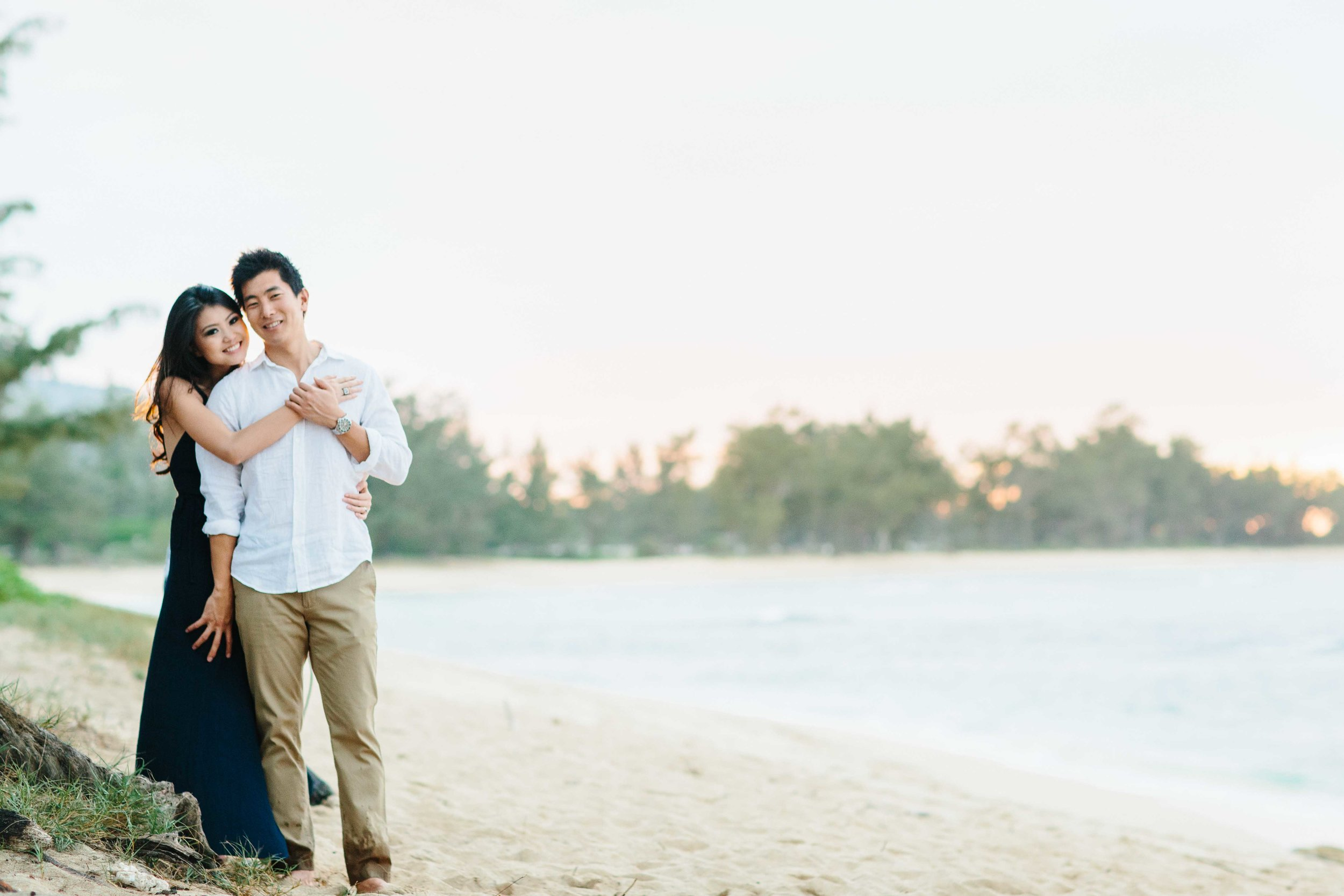 Engagement Couple at Mokuleia Beach