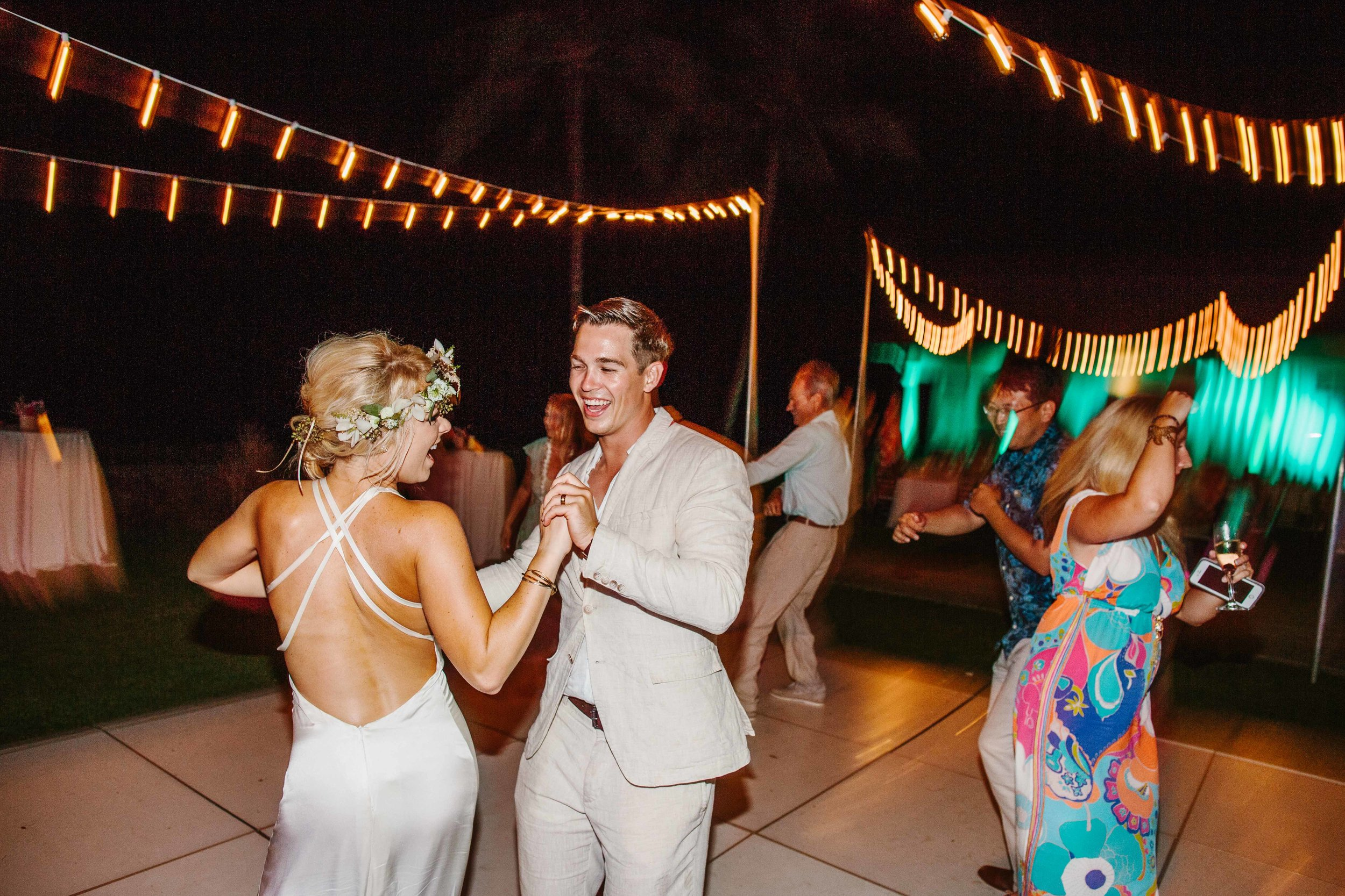 Wedding Couple Celebrates on The Dance Floor
