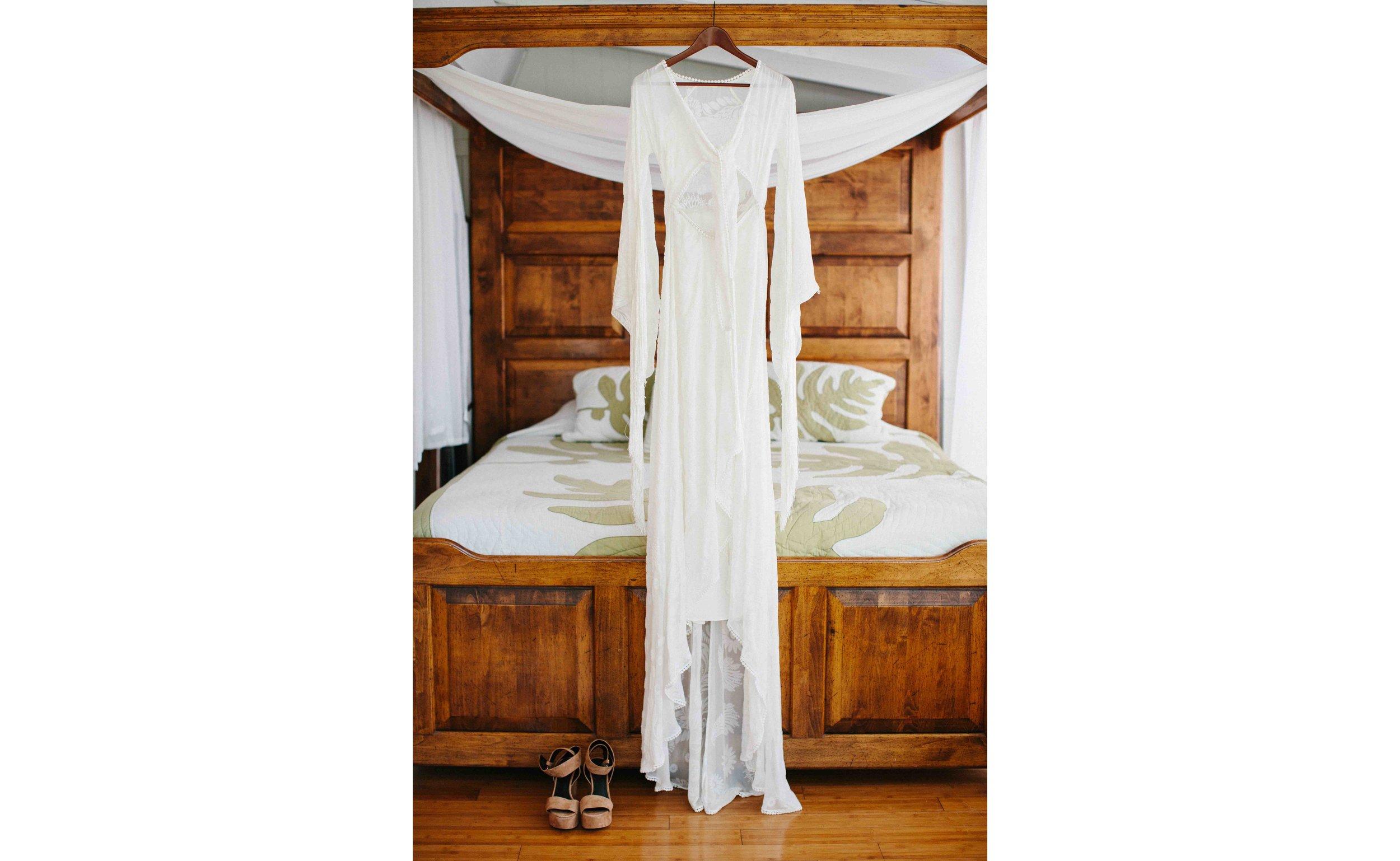 Boho Wedding Dress Hanging in Bridal Suite