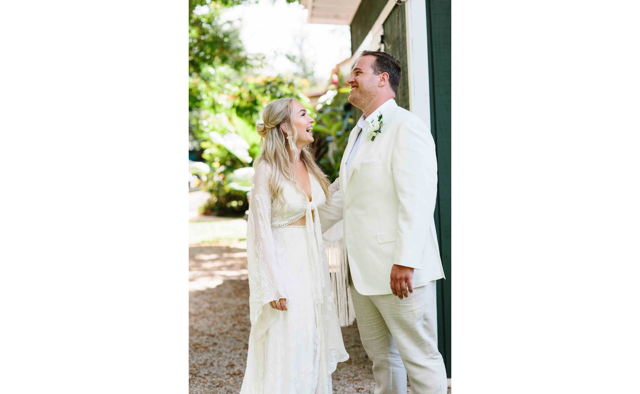 Bride and Groom Laughing at Loulu Palm Estate