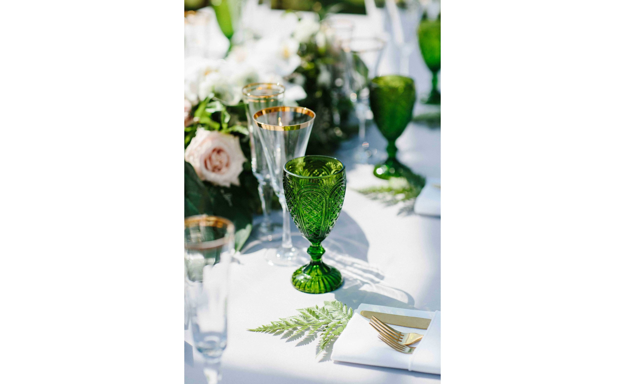 Green, White, Gold Wedding Table Setting