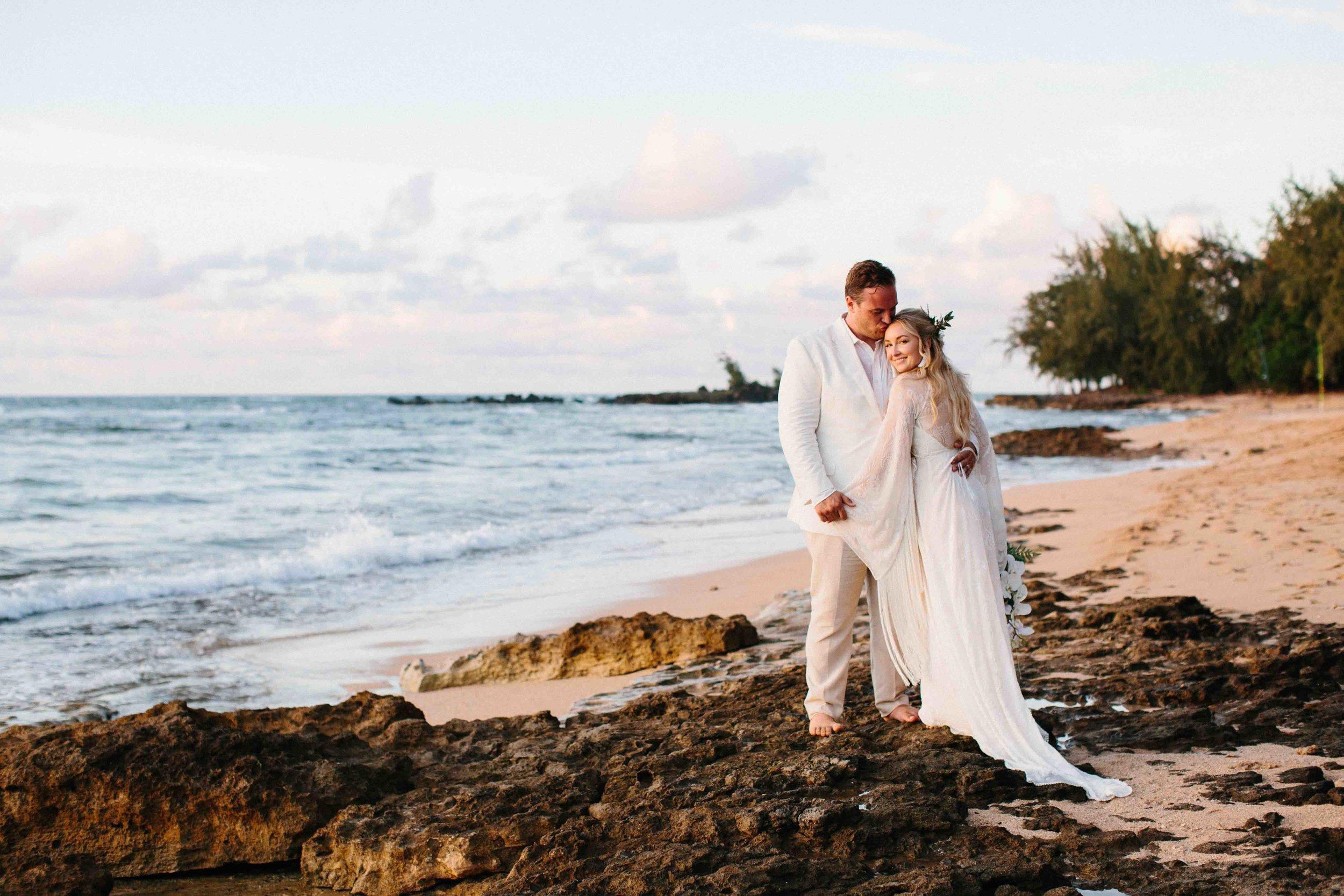 Oahu Beach Wedding Photography of Bride and Groom
