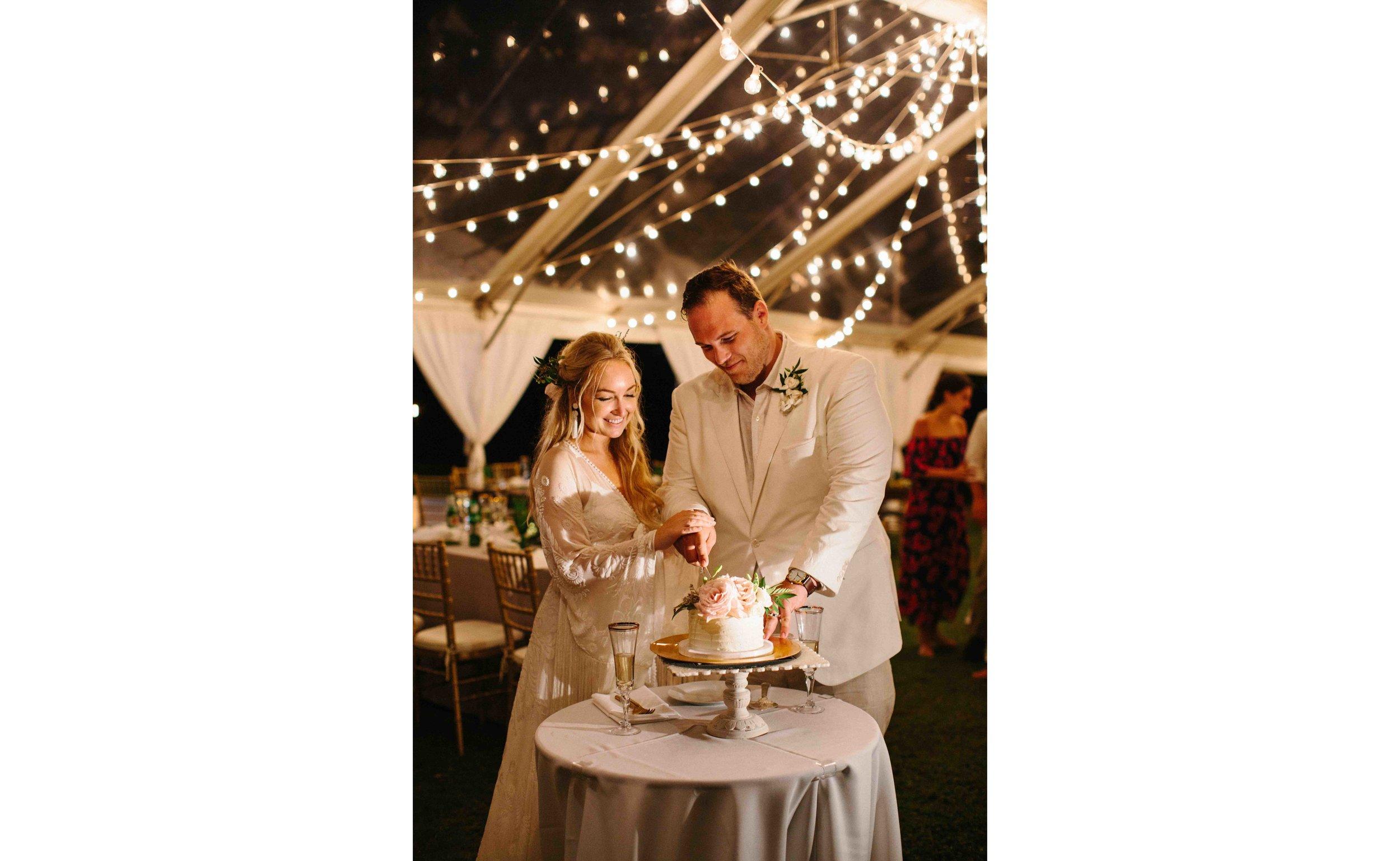 Oahu Wedding Photography of Cake Cutting