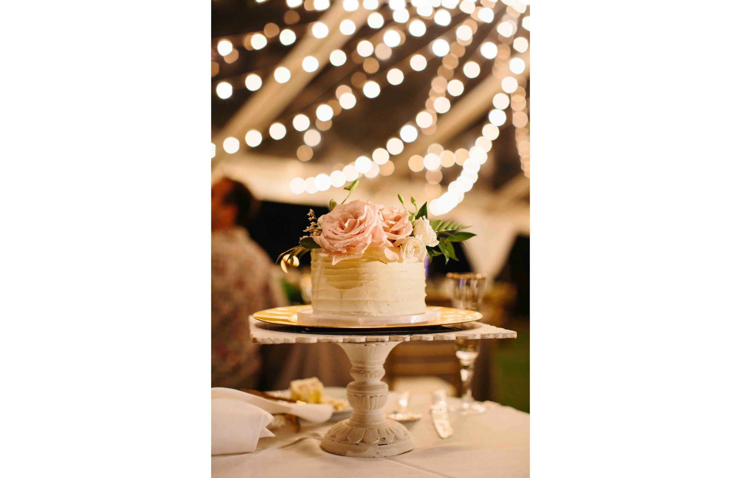 Miniature Wedding Cake at a Wedding Reception