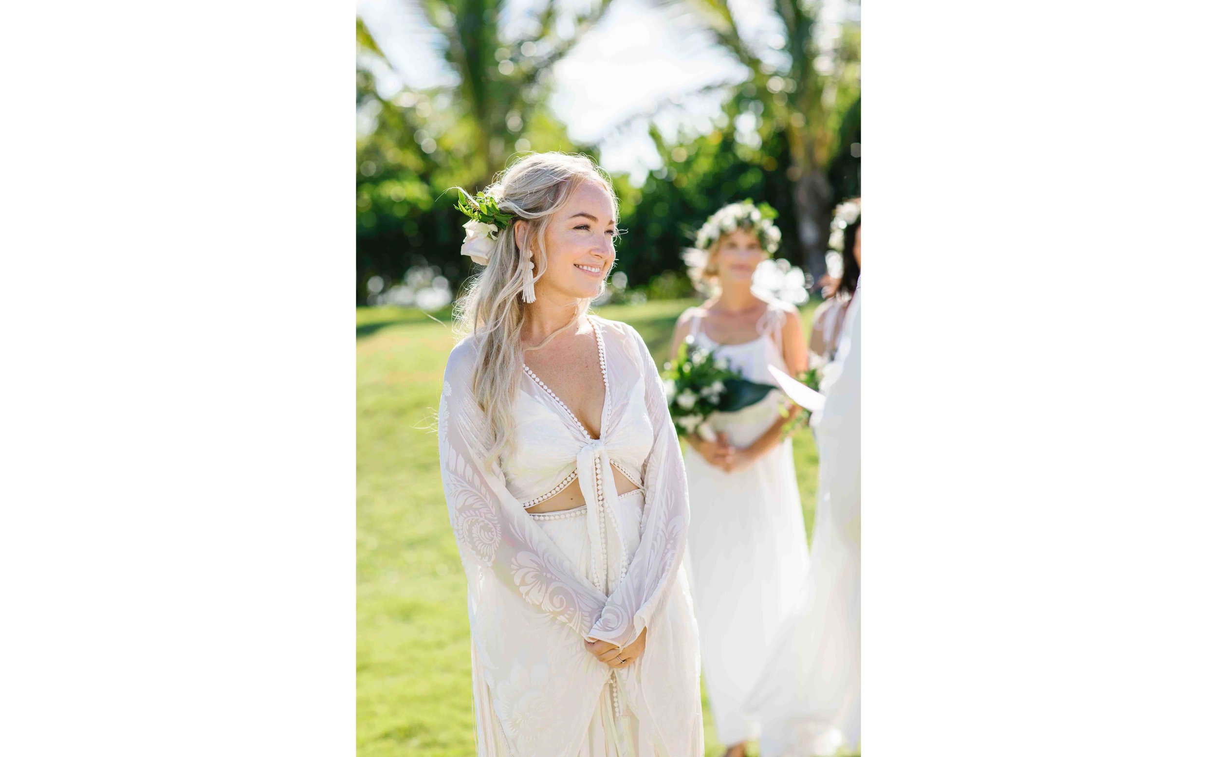 Bohemian Bride at her Hawaiian Wedding Ceremony