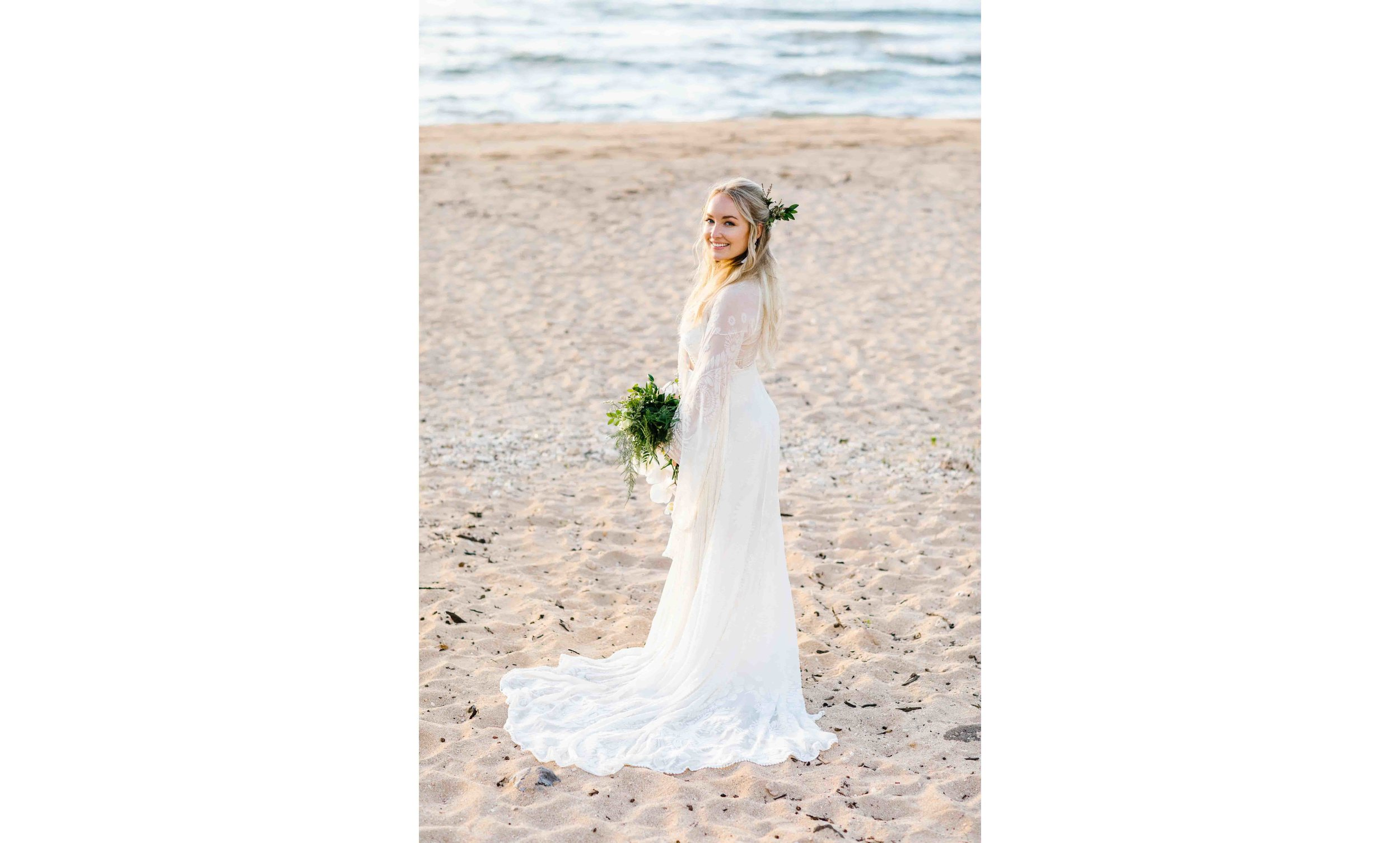 Boho Bride at a Hawaii Beach
