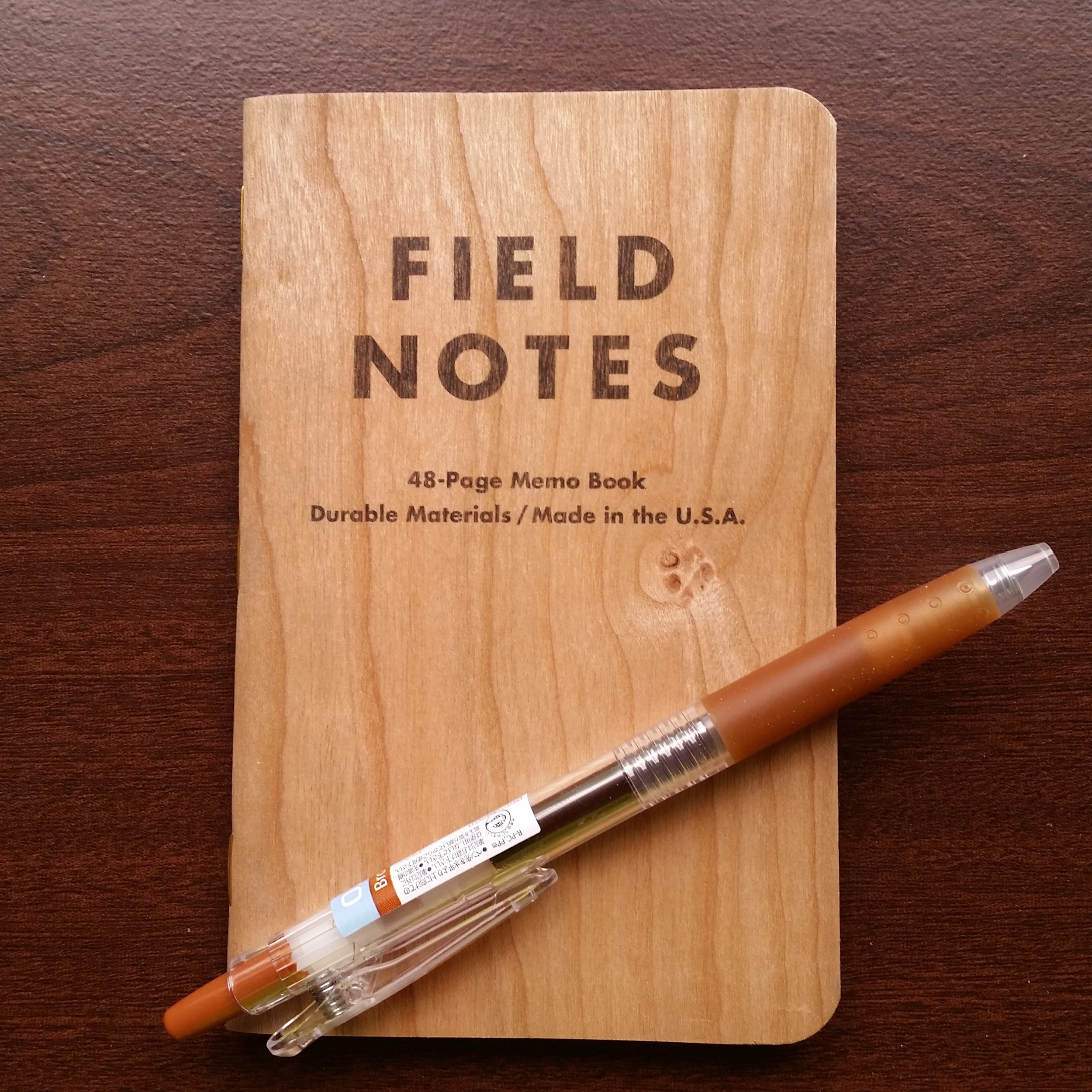 Field Notes Cherry Graph with a brown Pilot Juice