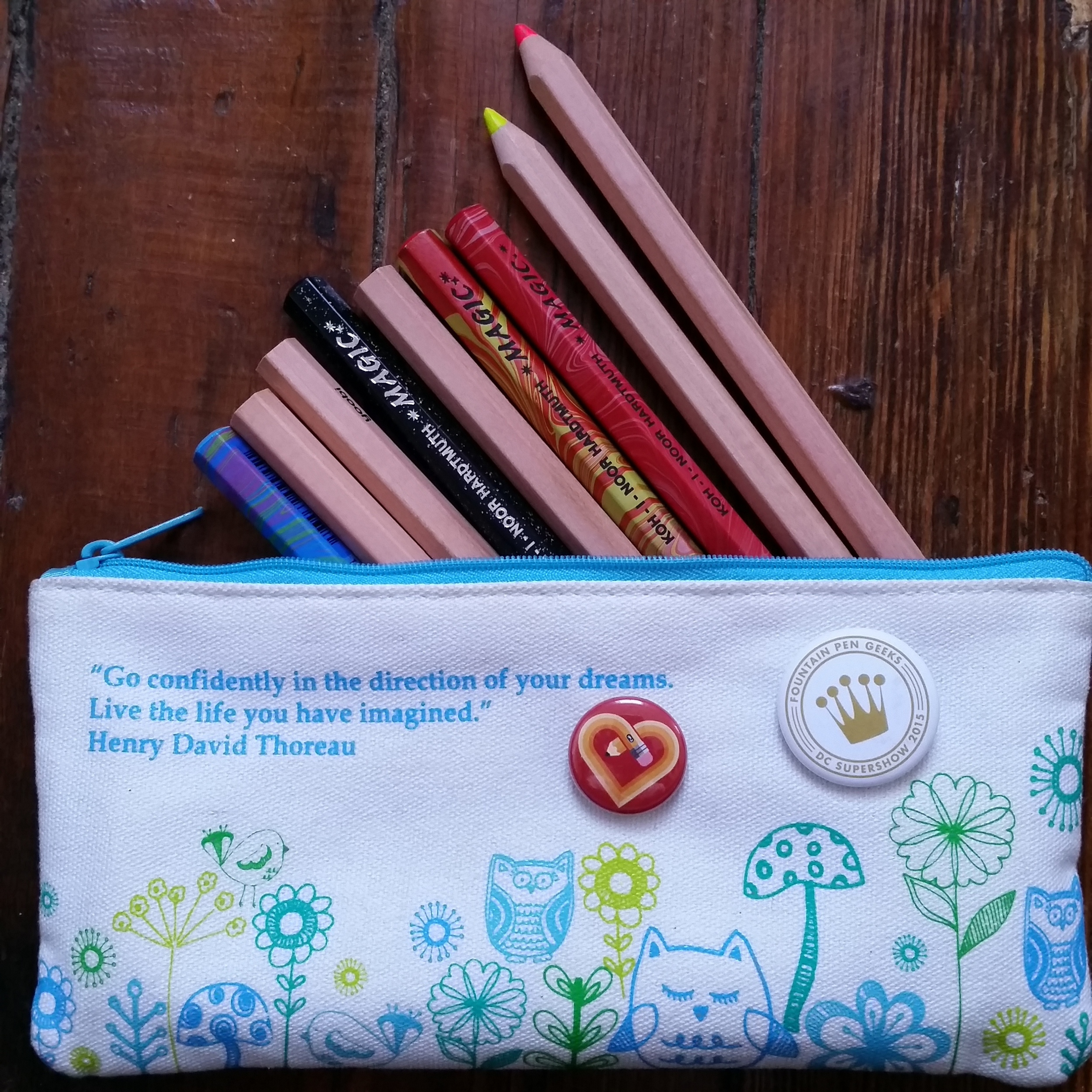 Pencil pouch with Yoobi highlighter pencils and Koh-i-noor Magic Pencils
