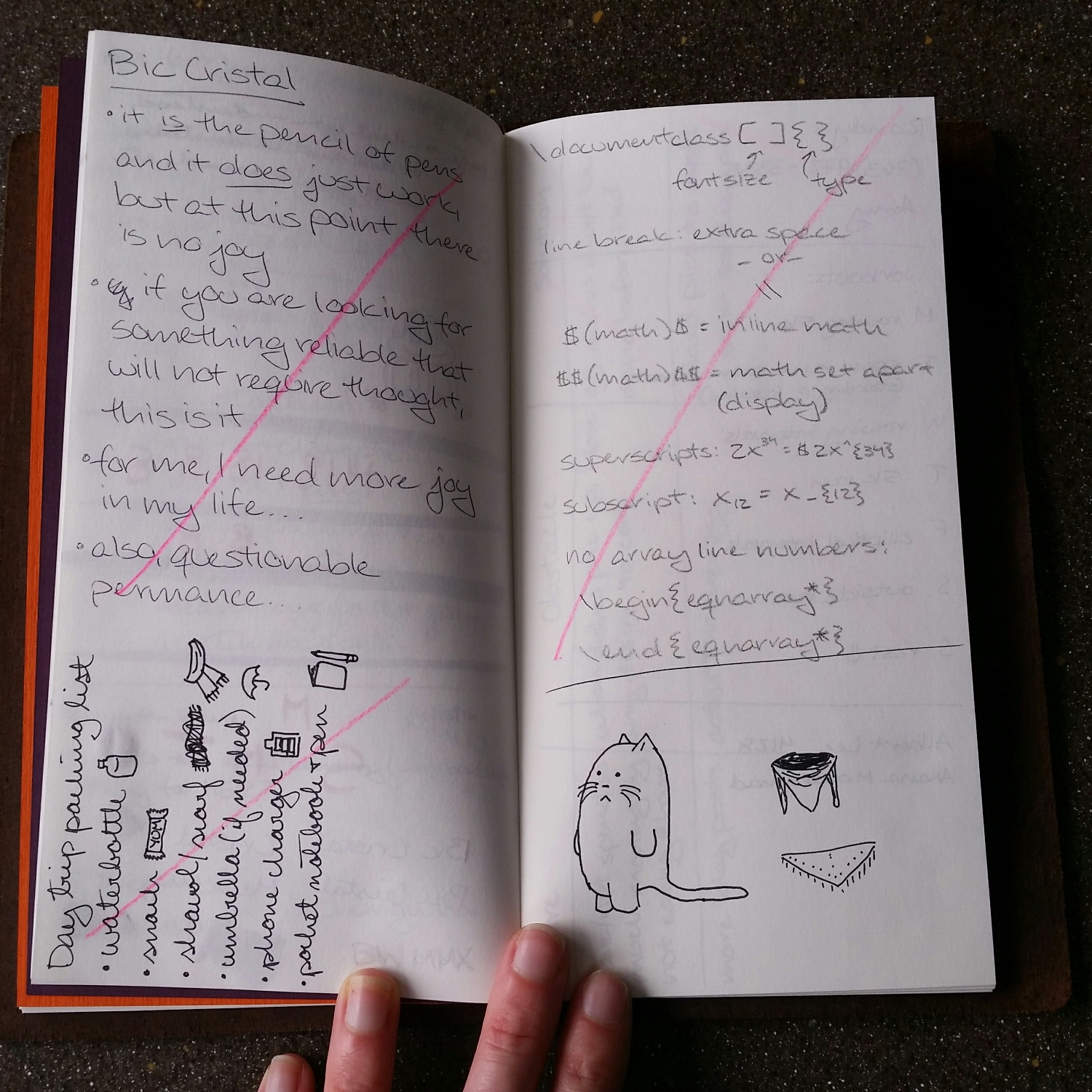 A page in my junk notebook that has no active material