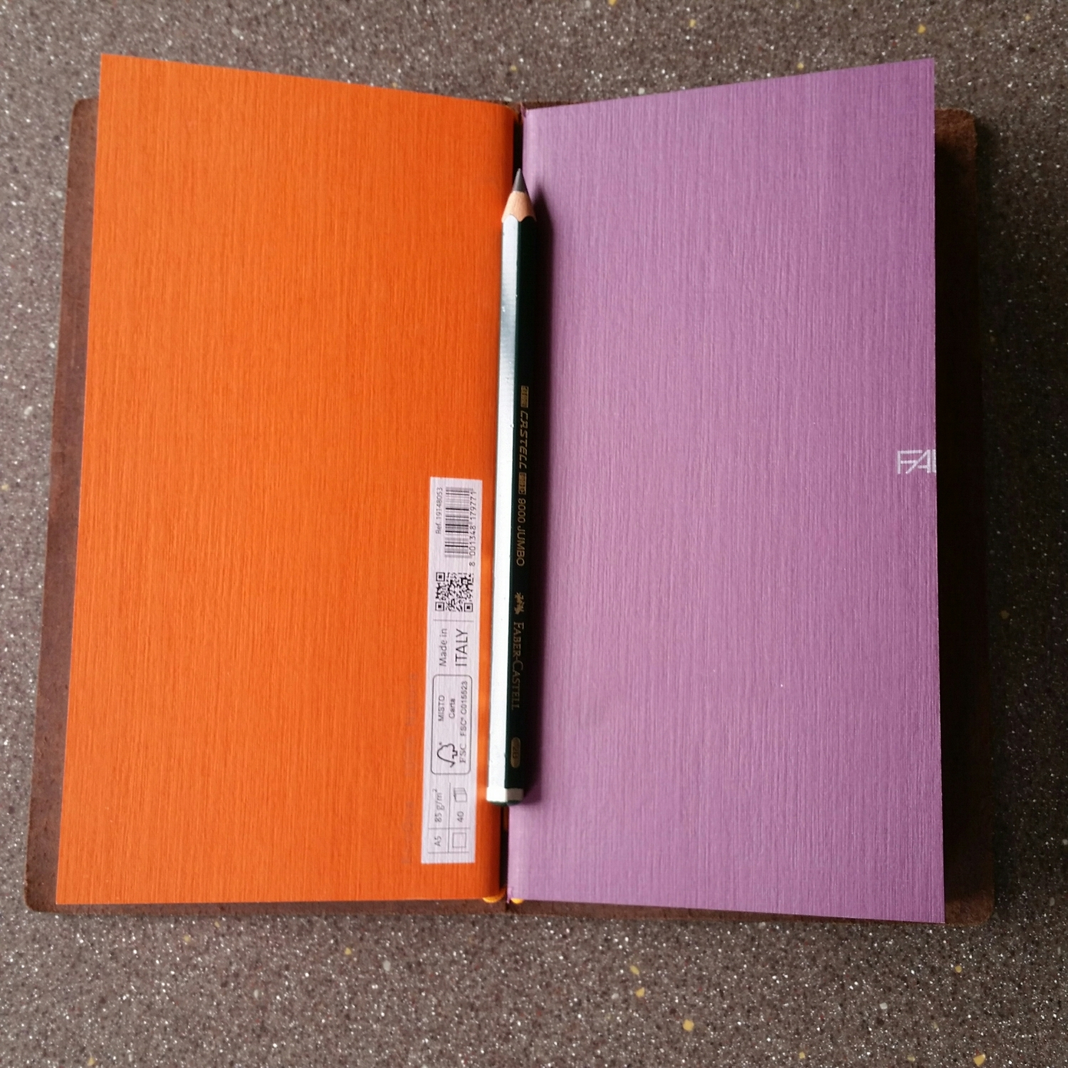 """Current notebooks (both Fabriano A5 cut down to 4.25"""" wide)"""