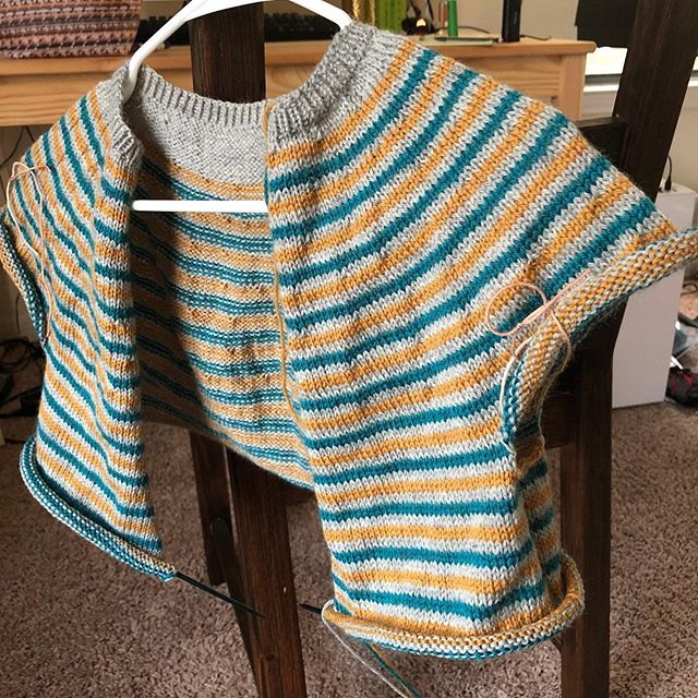 If you watch the podcast you would have seen the wee beginnings of this sweater. Still a long way to go but it's looking more like a sweater with every stripe!