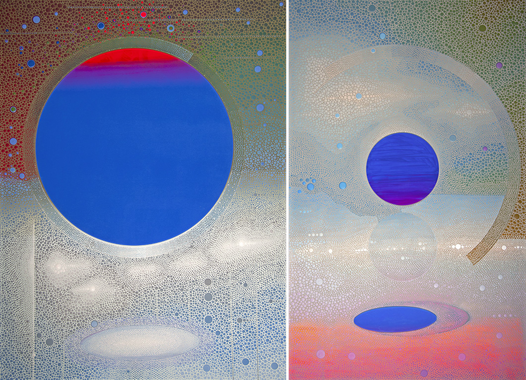 Edge of the Universe 1 and 2  2018 48 x 66 inches polymer media on canvas