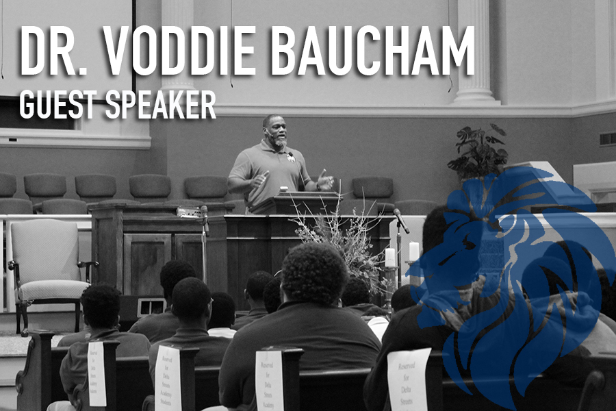 "Students and visitors received a great message from guest speaker, Voddie Baucham, on Monday, January 23rd.  He encouraged them to be men of integrity, especially later in life when they become husbands and fathers. The students were attentive and had great inquisitive questions for him.  A few impactful words from Dr. Baucham: ""As men, you are given tremendous privilege and tremendous responsibility to be called as a husband and father. There's nothing more significant than God that you can give to your wife and children.""  To learn more about Dr. Voddie Baucham please visit:  http://www.voddiebaucham.org/"