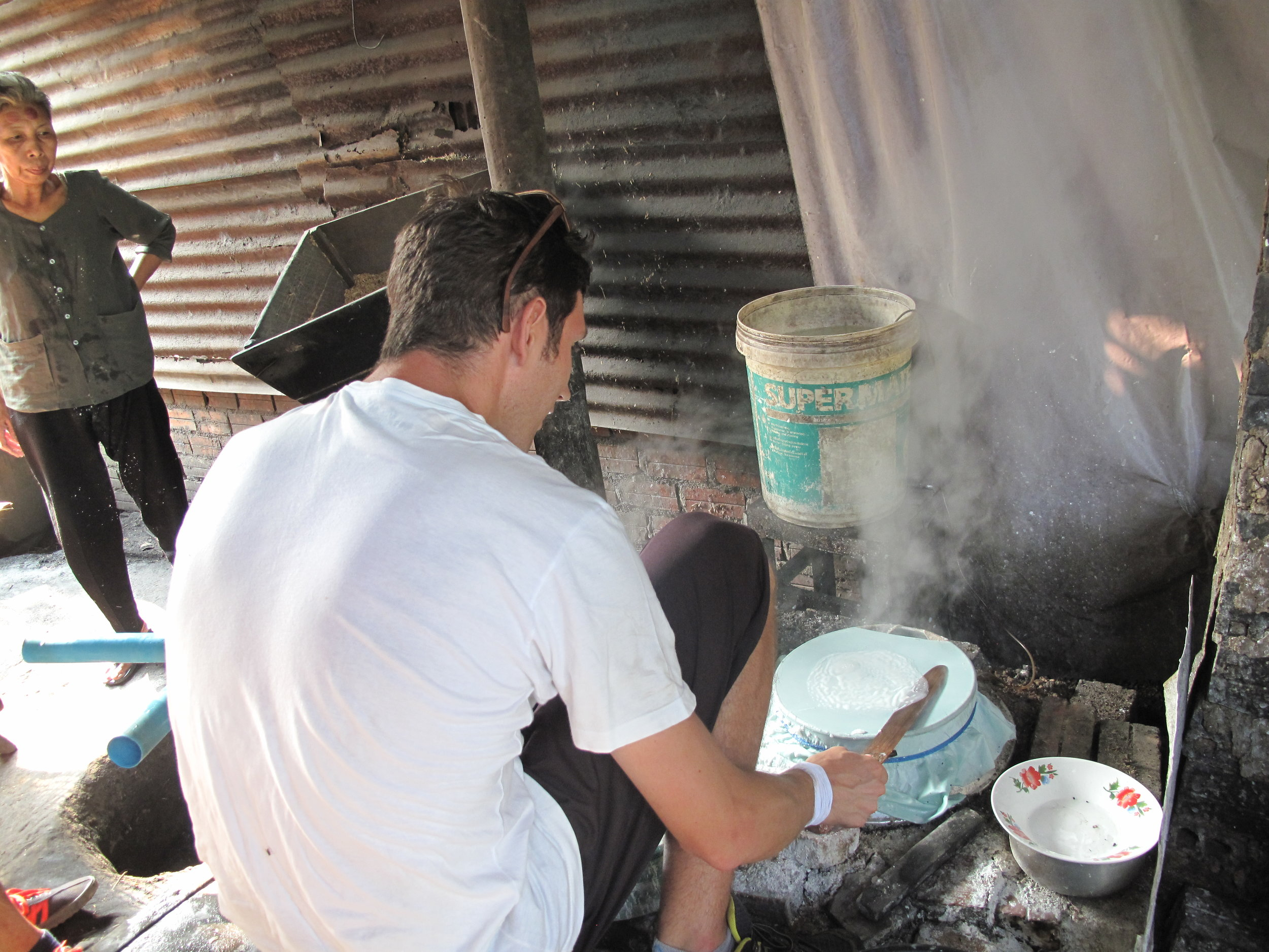 Making rice paper, Battambang