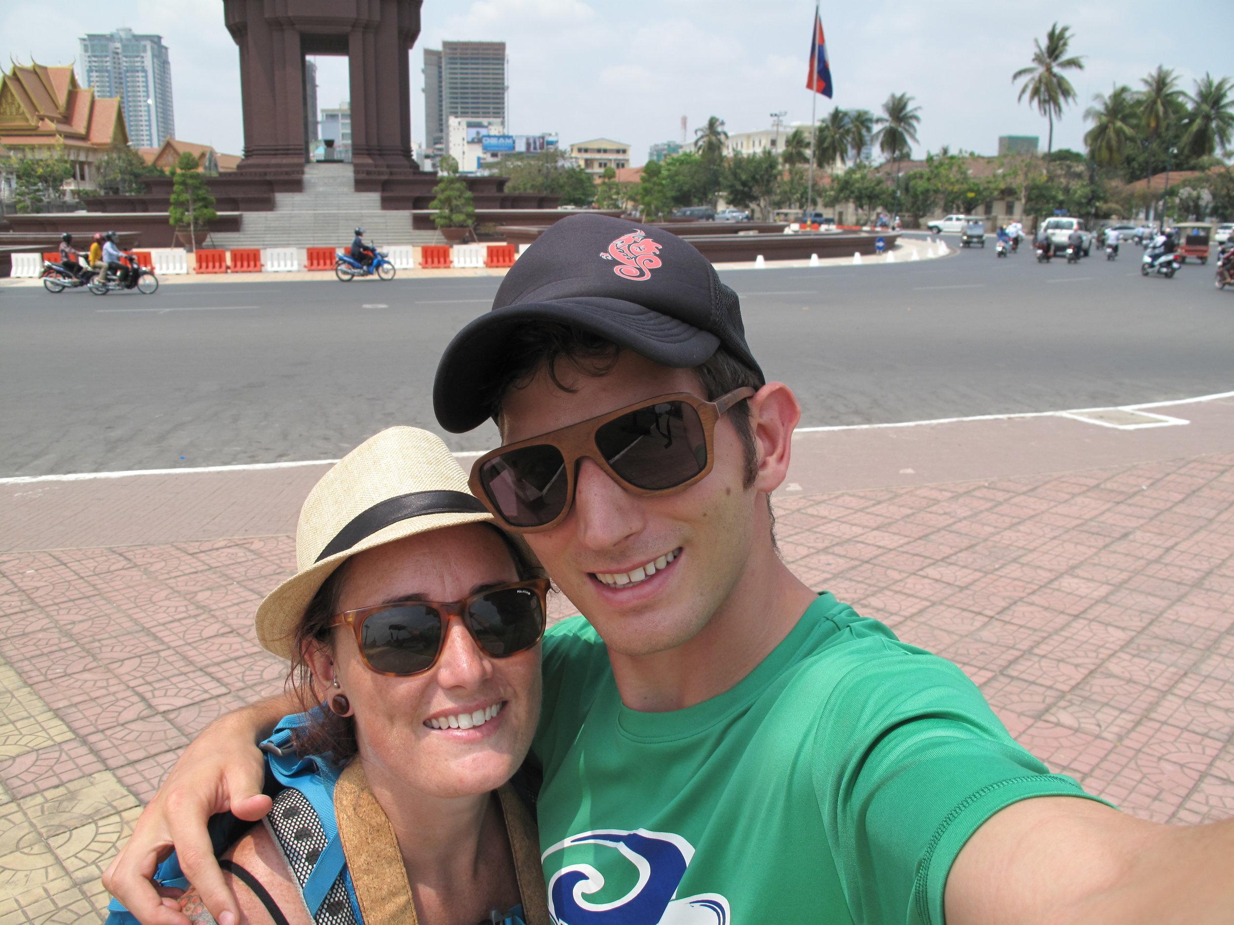 Roundabout selfie, Phnom Penh