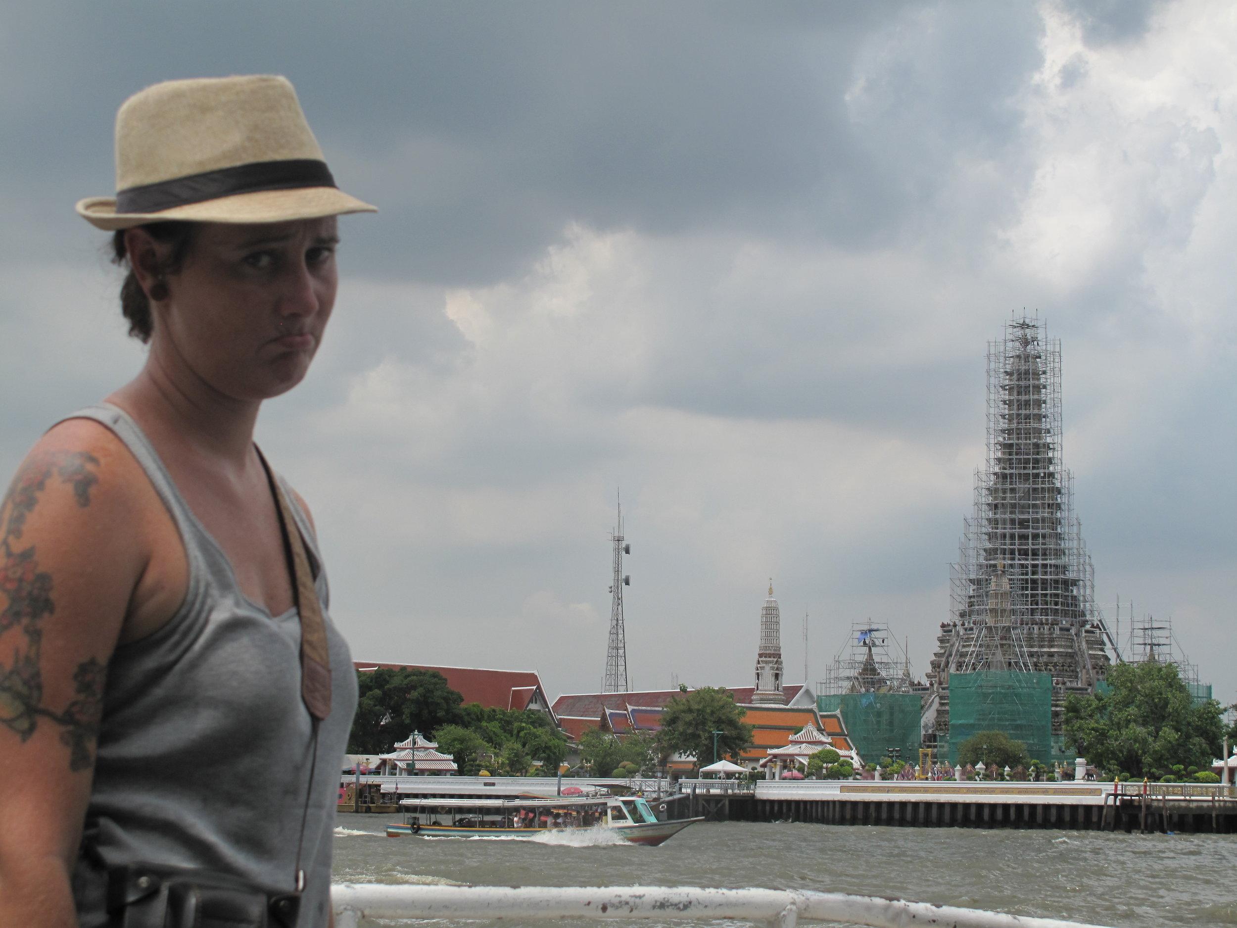 Wat Arun, covered in scaffolding