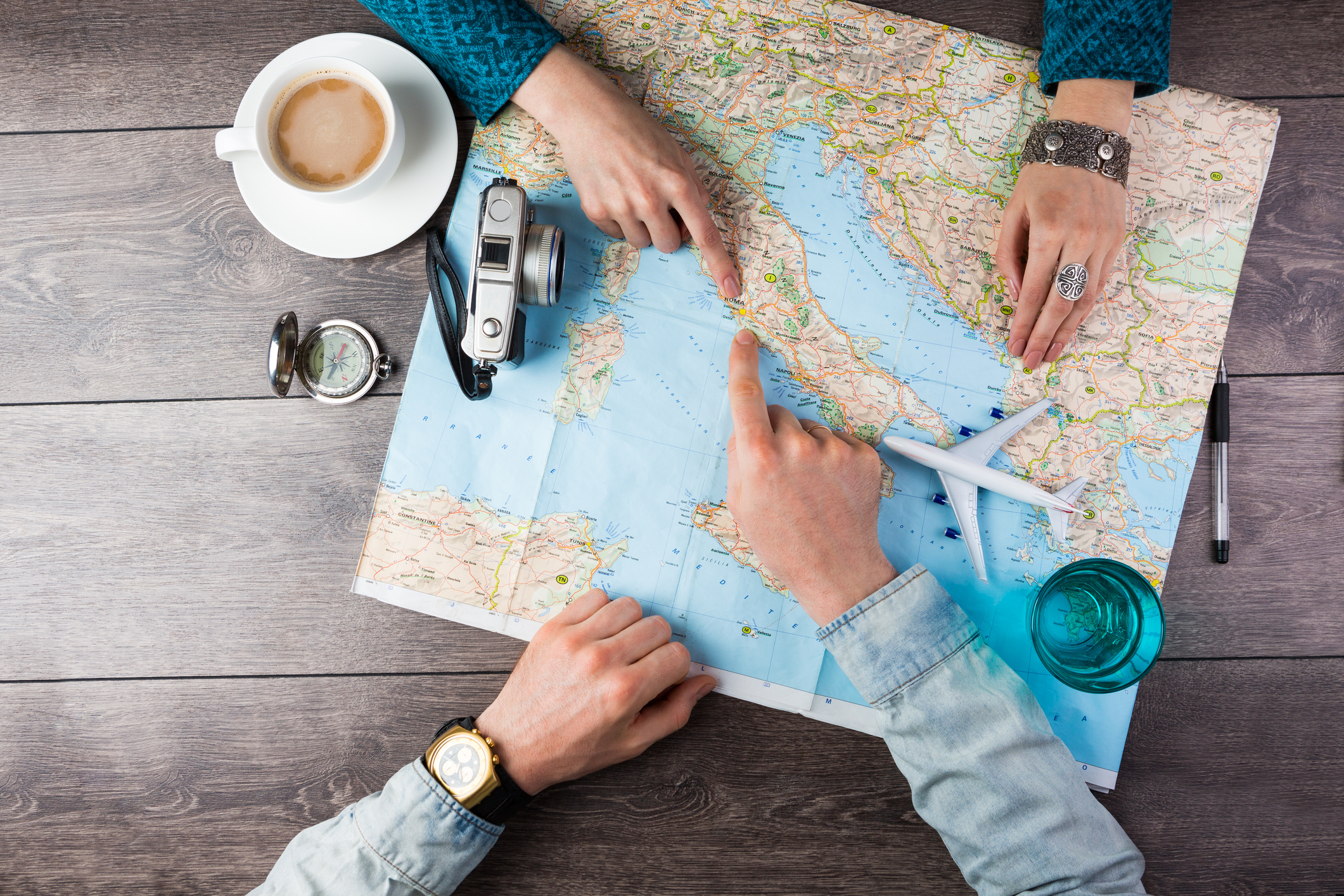 We definitely don't use a compass while trip planning... Or a model plane.