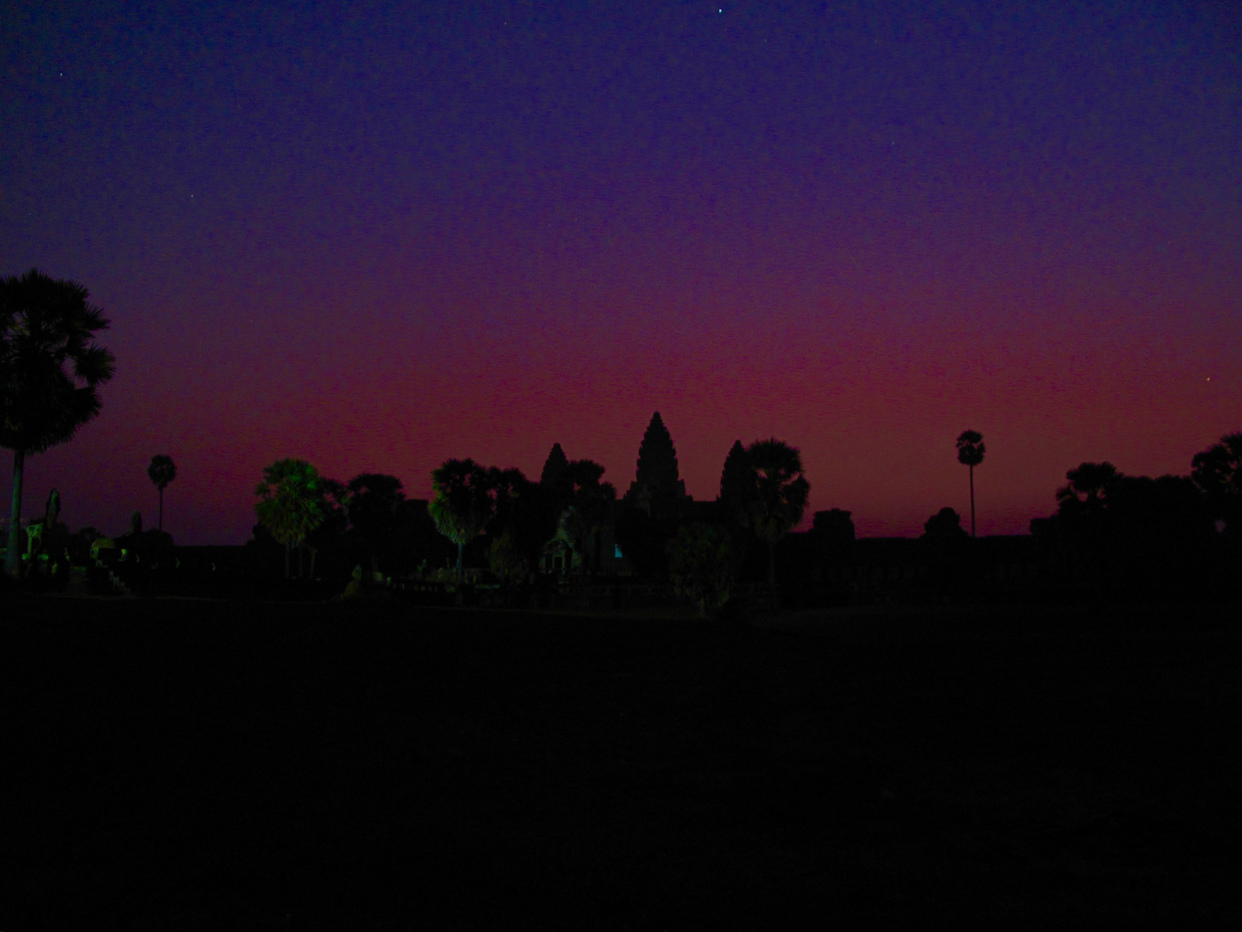 A very VERY rare sunrise for us at Angkor Wat