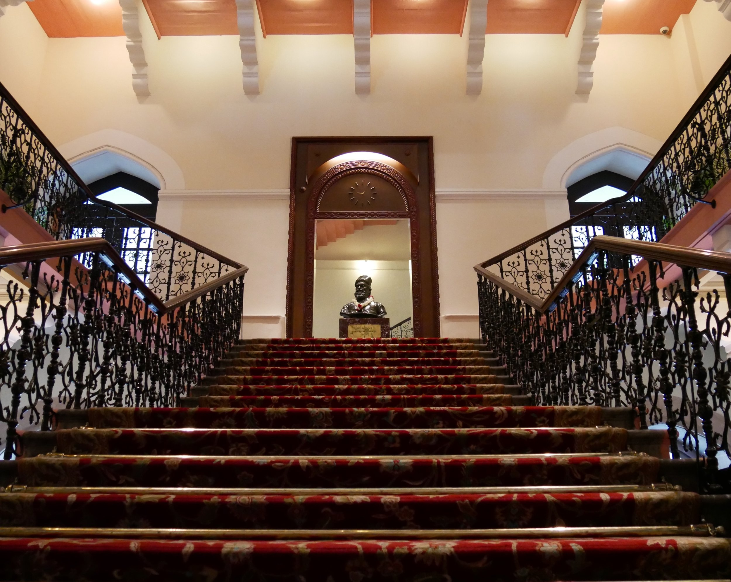 The main staircase in the hotel