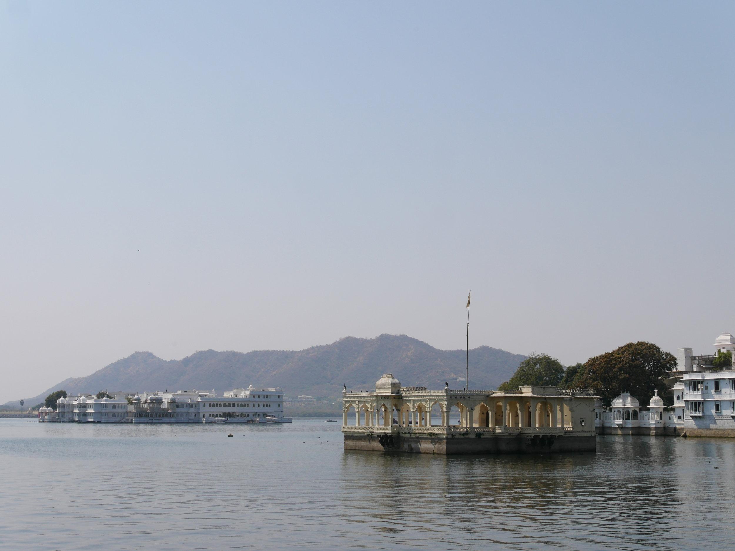 Lake Palace on the left