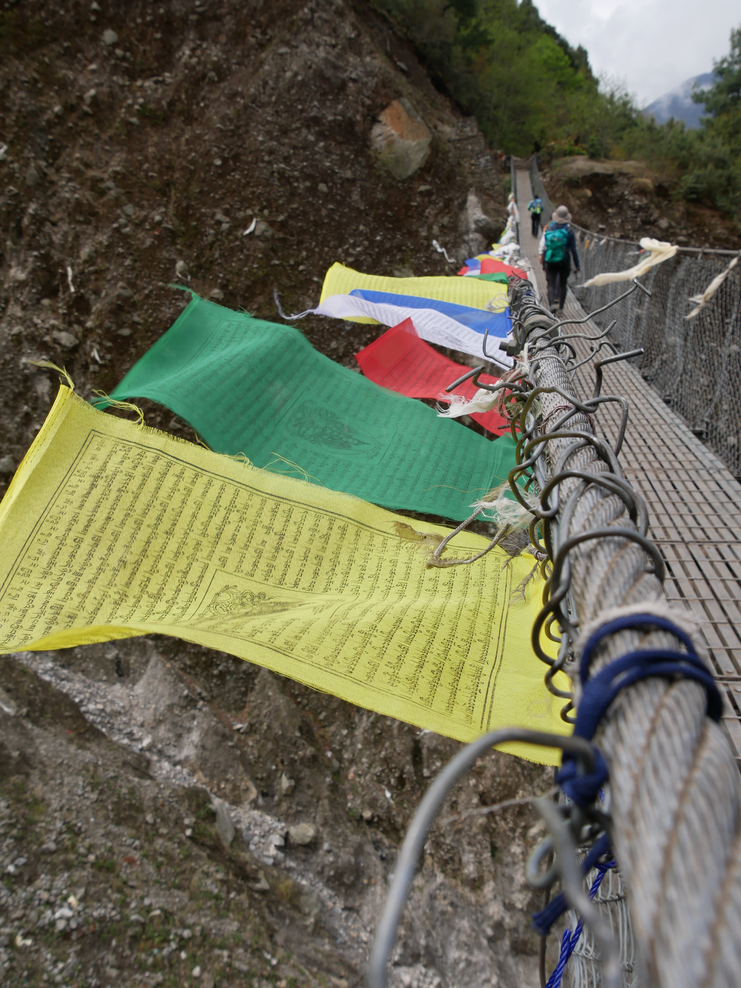 All the swing bridges were covered in prayer flags, flapping in the breeze
