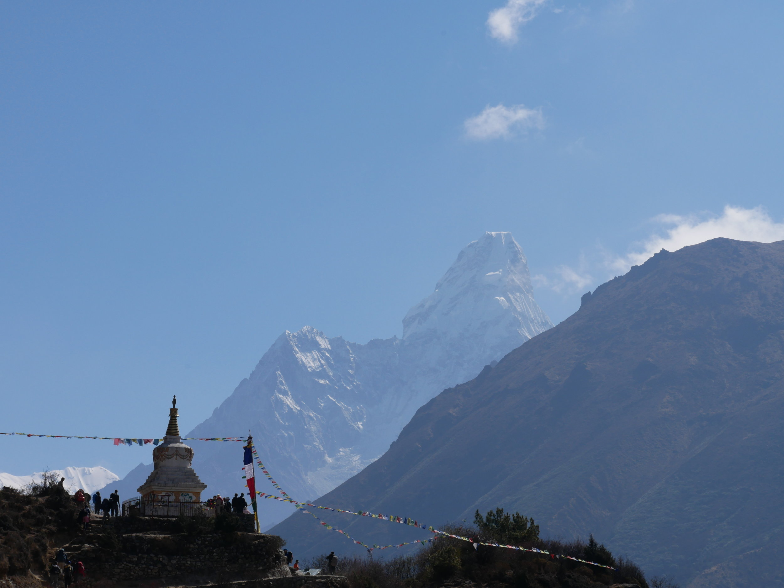 The Tenzing Norgay Memorial Chorten with Ama Dablam in the background