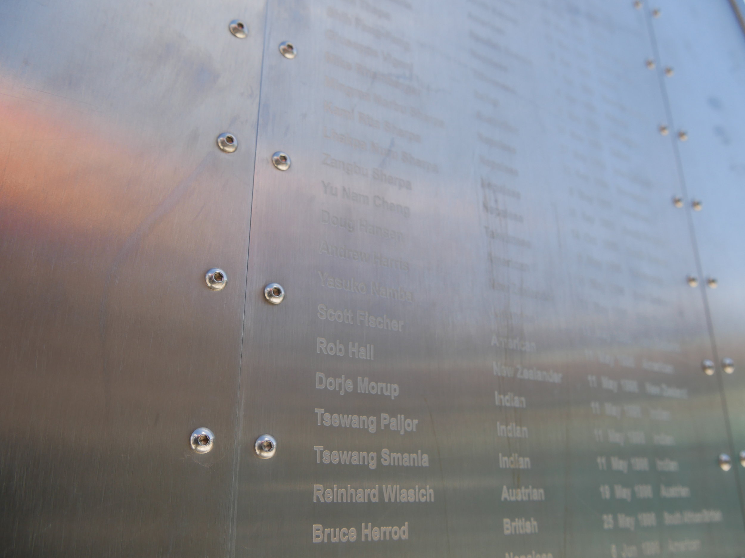 The 1996 Adventure Consultants team's names on the Everest Memorial in Pheriche