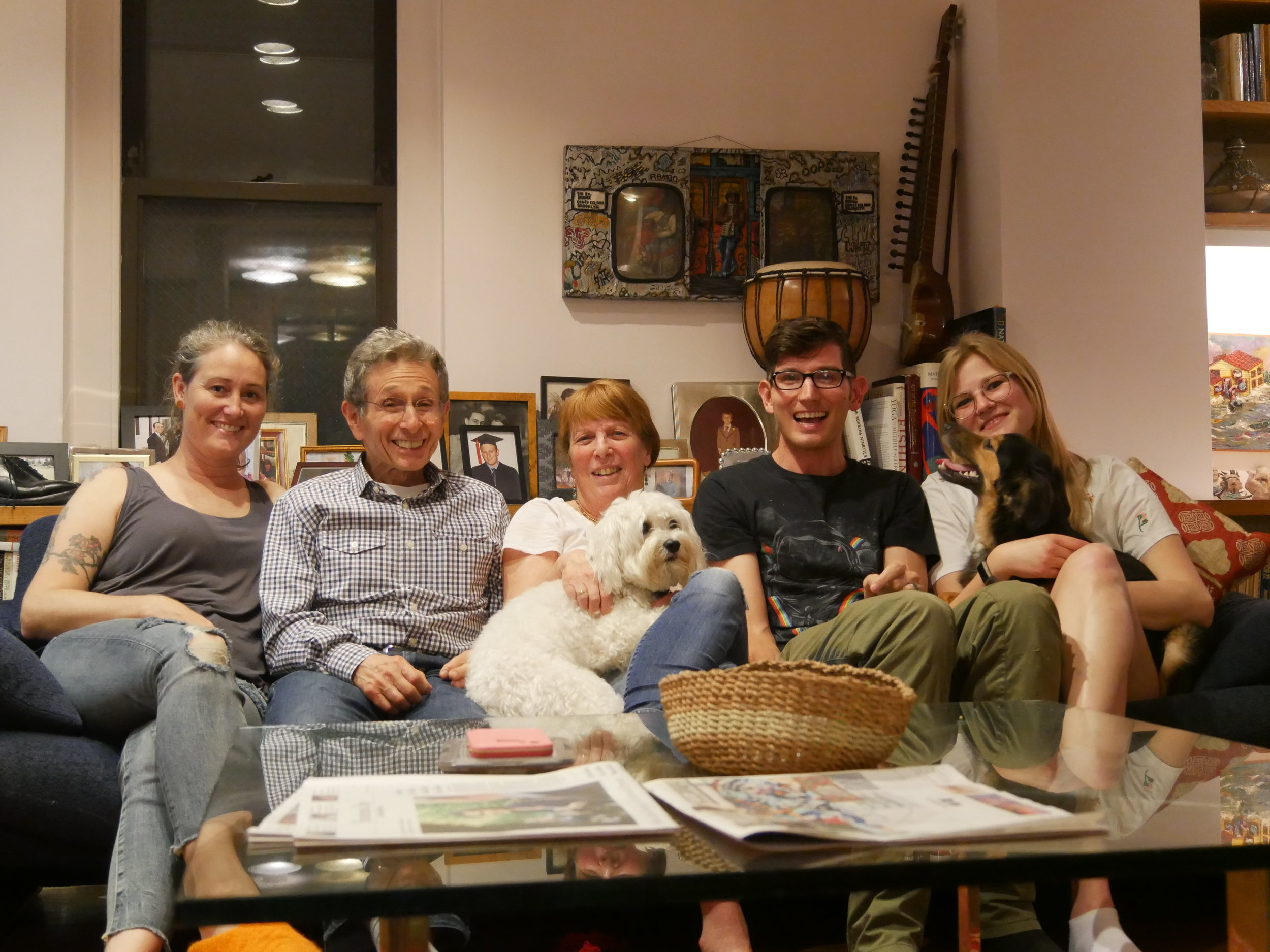 The family! L-R Sam, Loren, Carol and Manny, Zev, Rachel and Argos