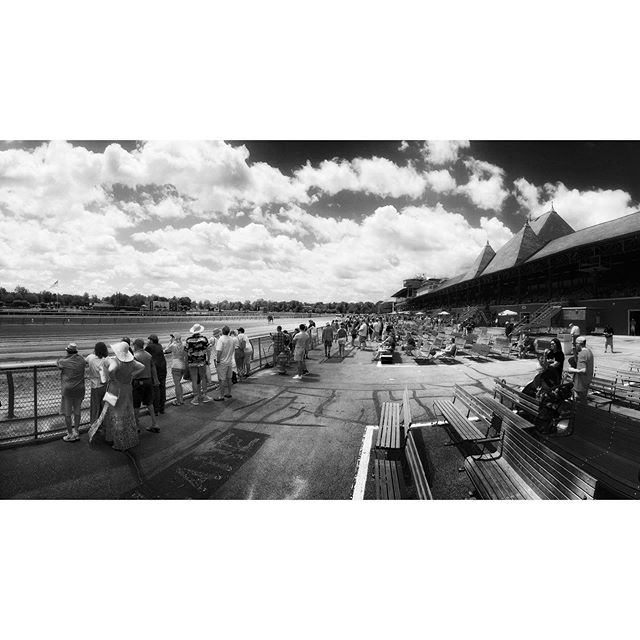 Saratoga Race Track. Place your bets. #saratogasprings #racingseason #racehorses #iphonexrphotography #bwphoto