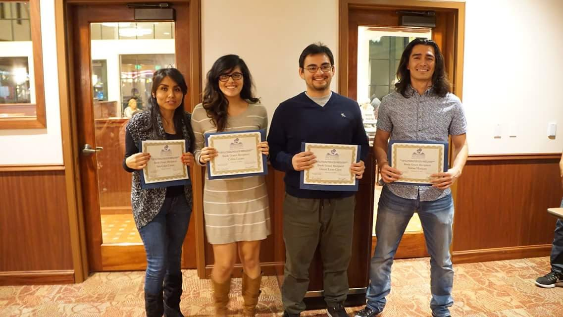 2016 Book Grant Recipients (From left to right: Sara Colon, Celina Lazaro, Daniel Leon-Gijon, and Adrian Marques)