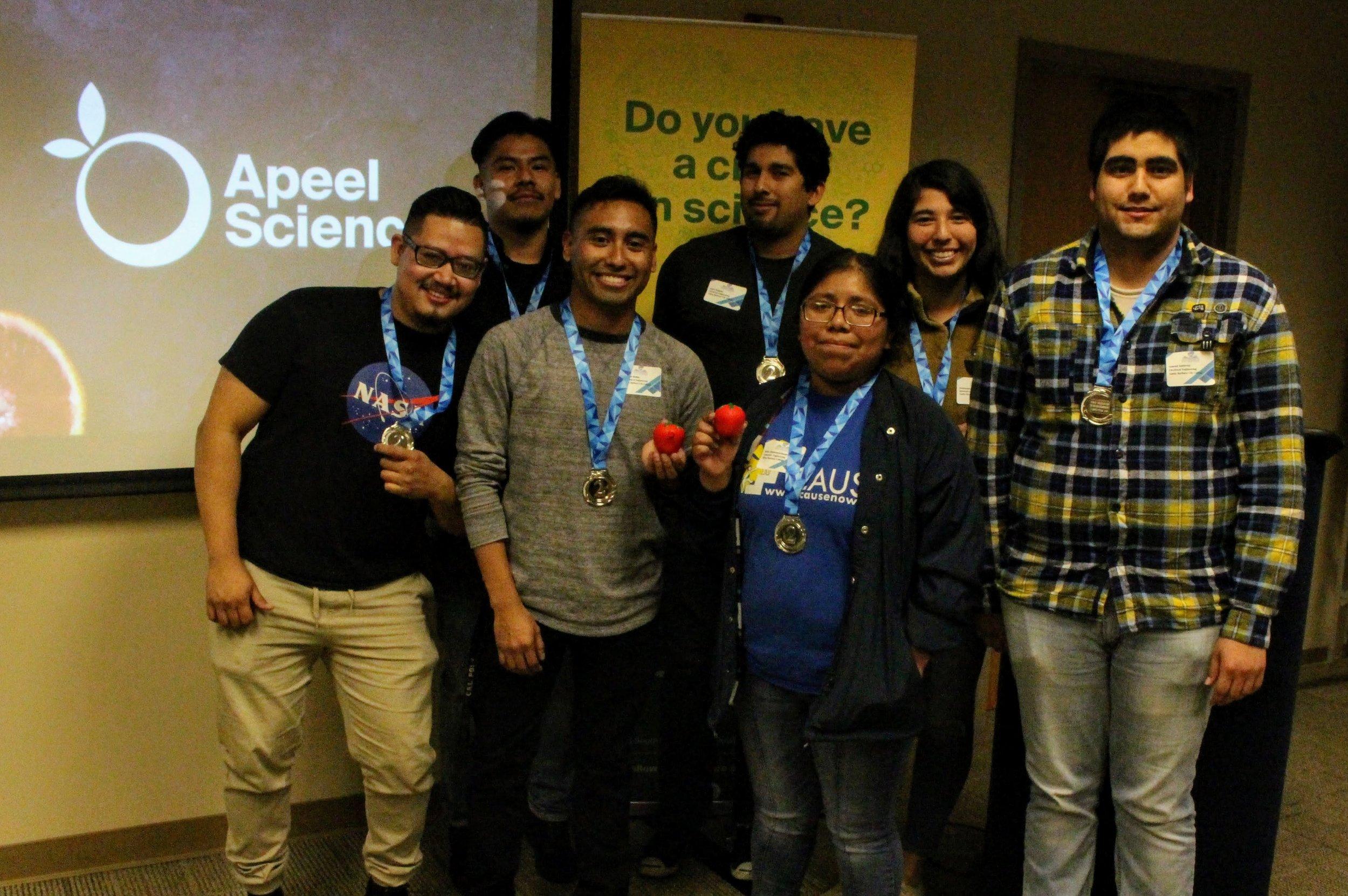 (Left to Right) Christopher [Fernando Estevez - Mentor], Brandon Molina, Daryl Delgado, Sofia Altamirano-Ramirez, Samuel Gutierrez