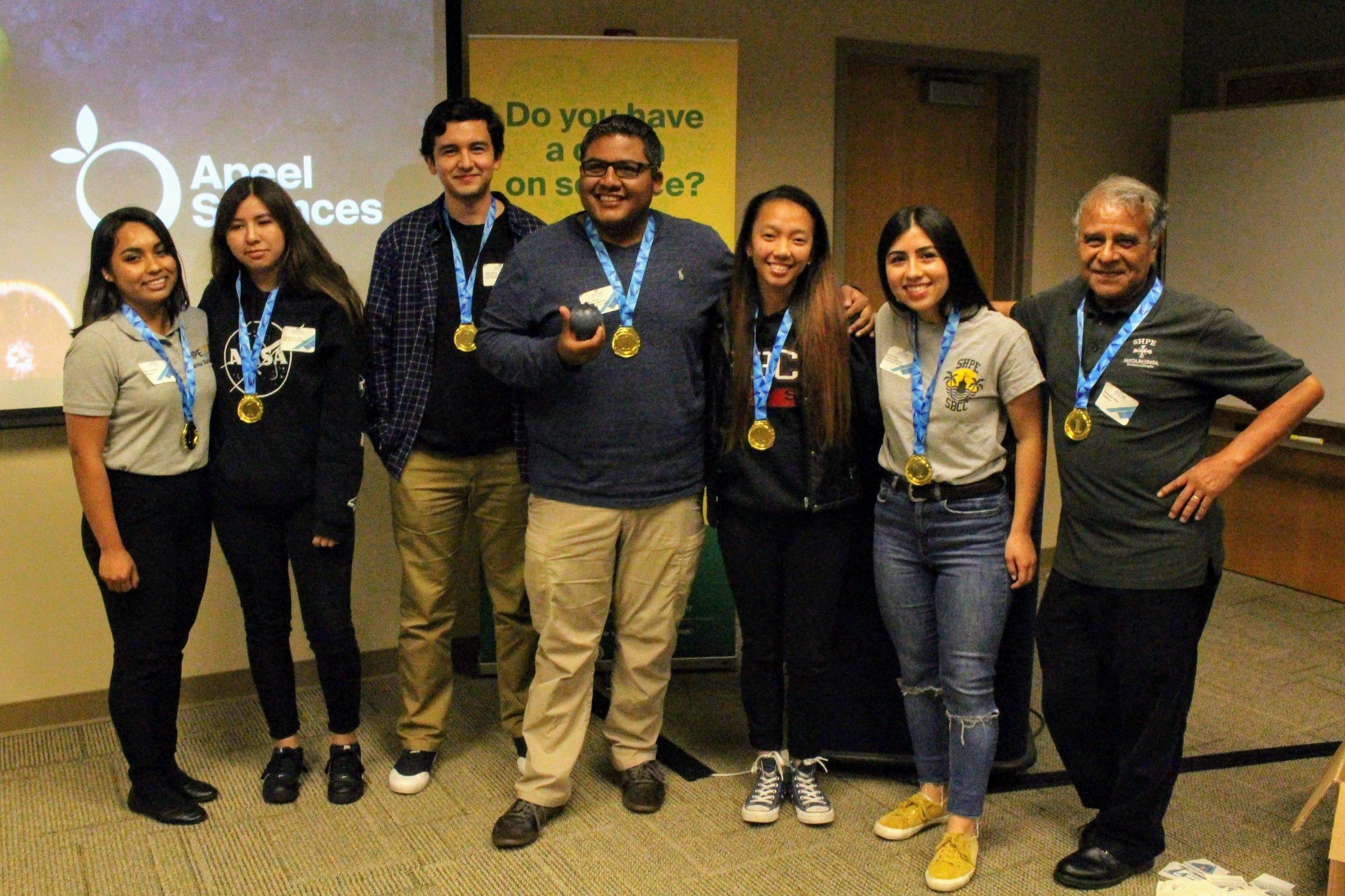 (Left to Right) [Reyna Sanchez - Mentor], Stephanie Echeverria, Diego Ramirez, Rodrigo Gonzalez, Mary Grace Sy, Karina Portugal, [Armando Veloz - Mentor]