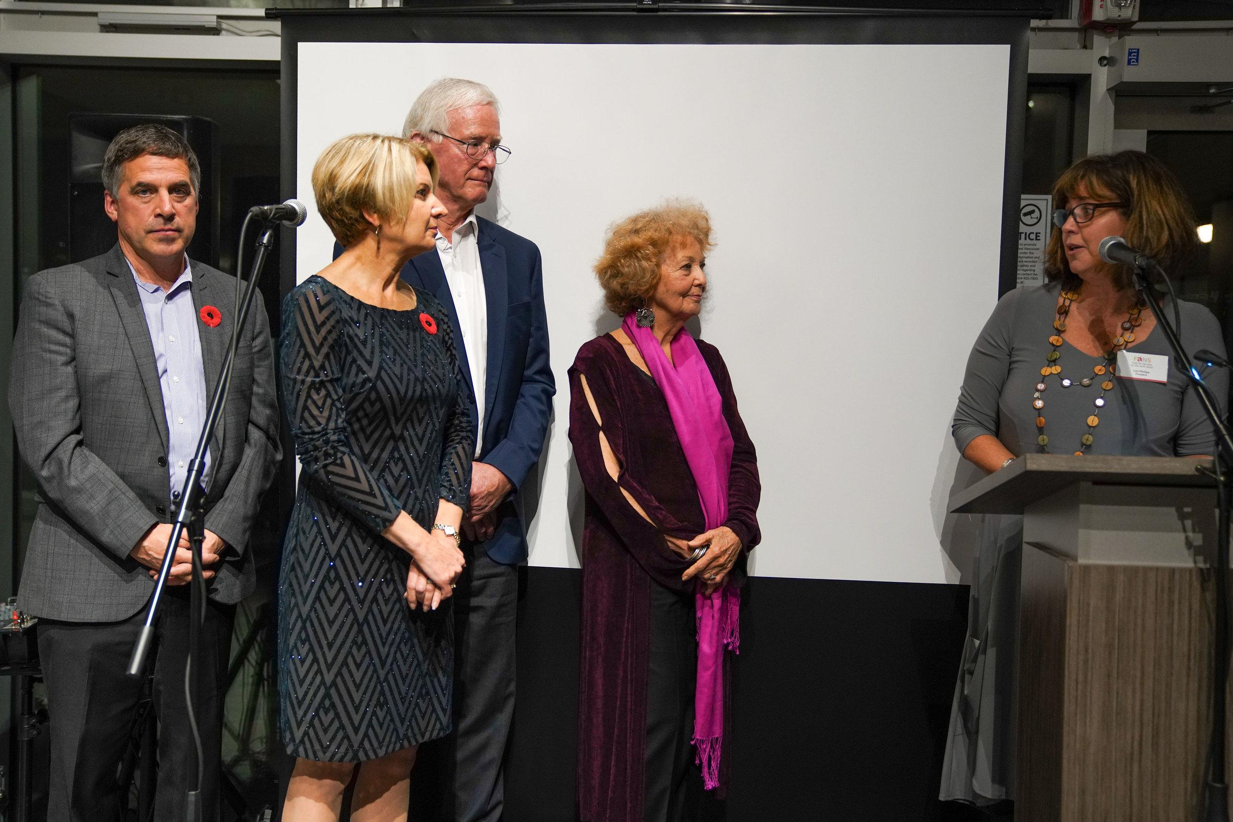 FANS Distinguished Artist Award Sylvia Tait, (Visual Arts)  LR: Mayor Mussatto, new mayor Mary-Ann Booth, Mayor Walton, Sylvia Tait, and Lori Phillips FANS President