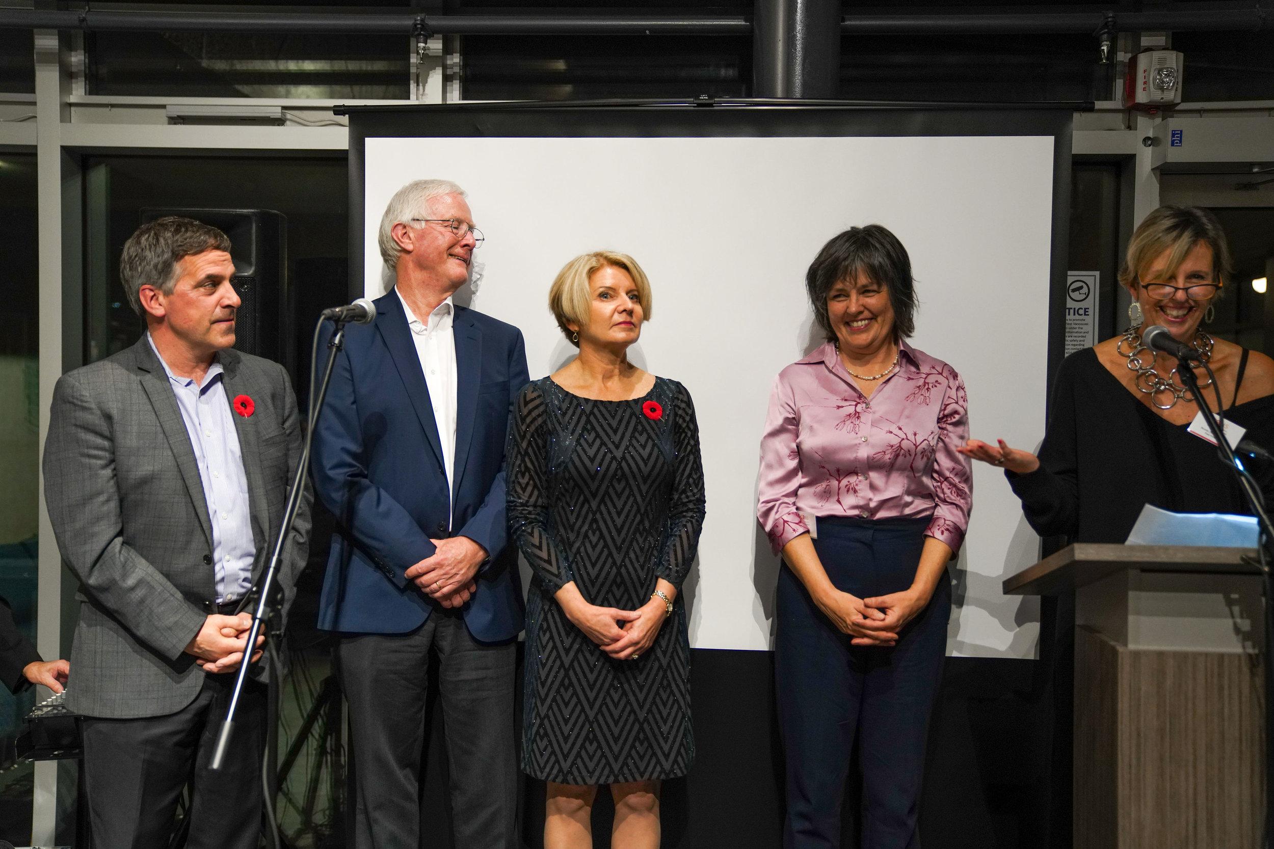 FANS Distinguished Artist Award Claudia Casper, (Literary)  LR: Mayor Mussatto, Mayor Walton, new mayor Mary-Ann Booth, Claudia Casper, and Nicky Morgan FANS Director