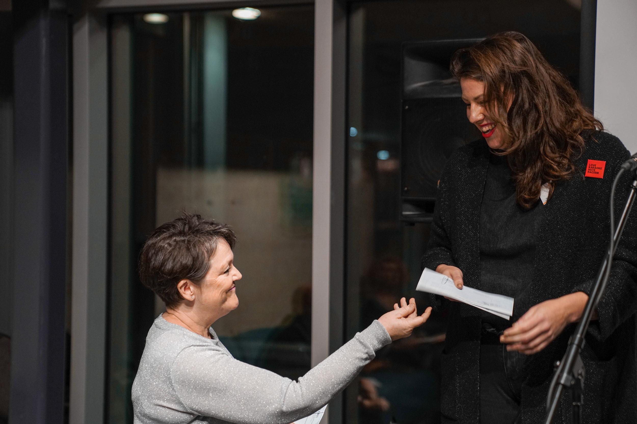 Sue-Ann Gilmour, Secretary-Treasurer and Lexie Owen, (Contemporary Art), FANS Don S. Williams Grant recipient