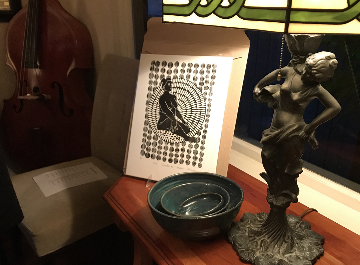 Print by Sandrine Pelissier on display after opened by and appreciative guest.
