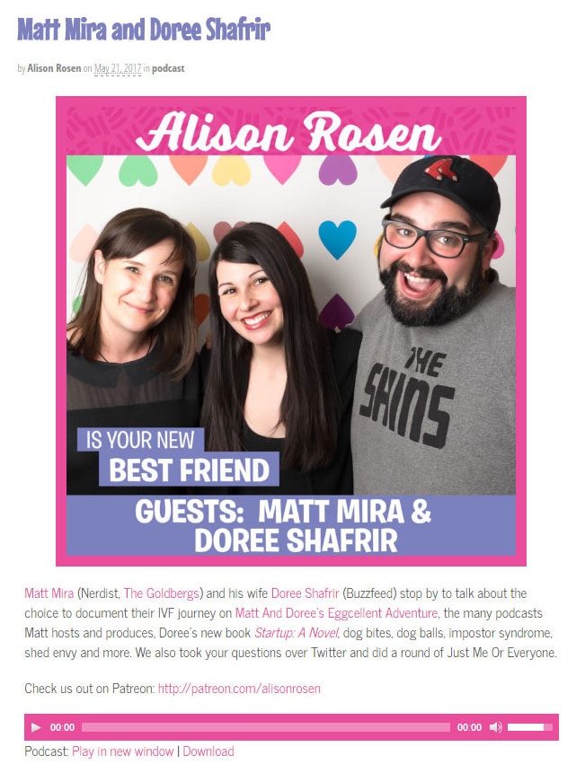 Alison Rosen is Your New Best Friend: click  HERE  to listen!