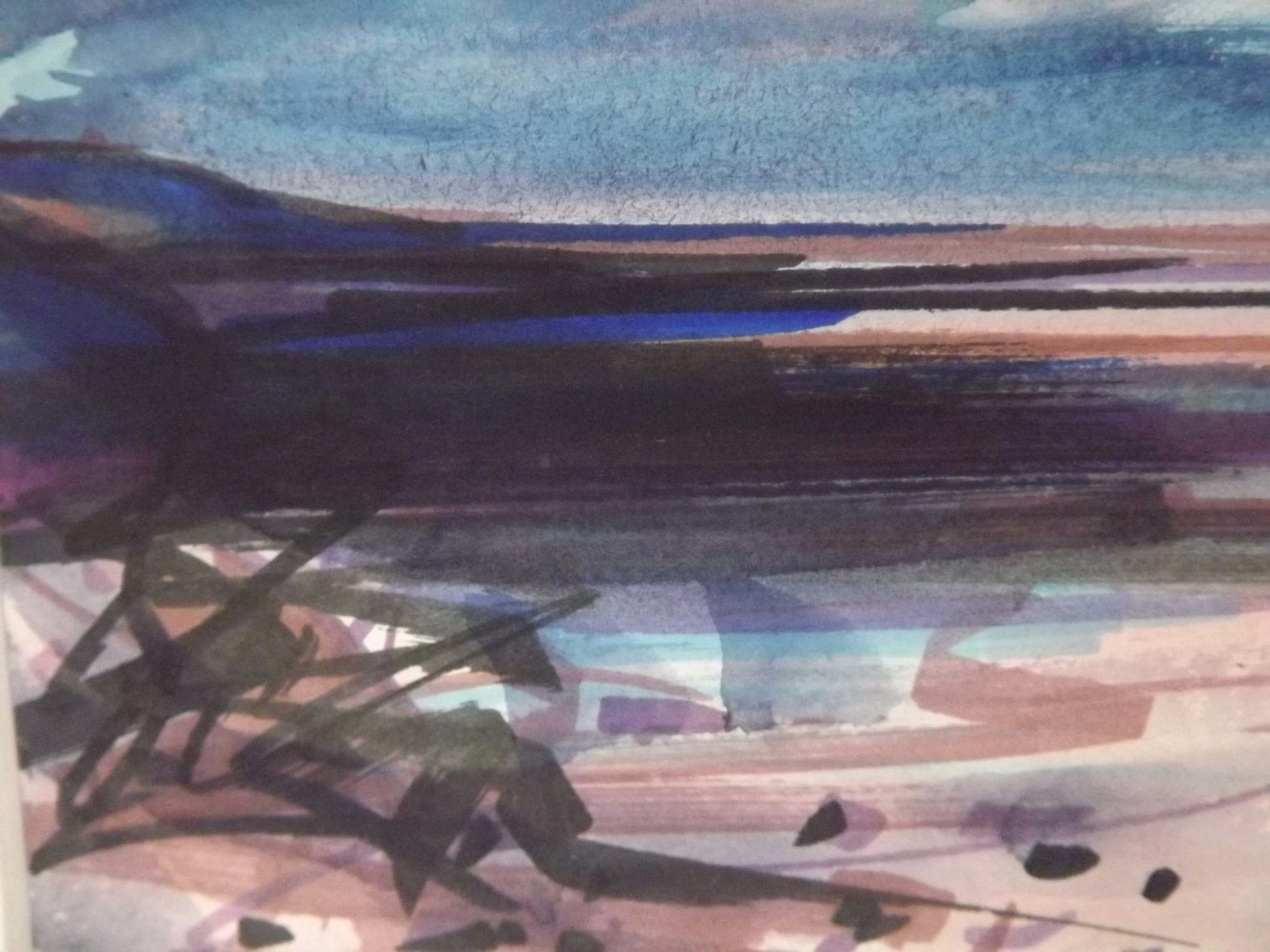 Winter Coast  Watercolour  Framed 30x26cms  available