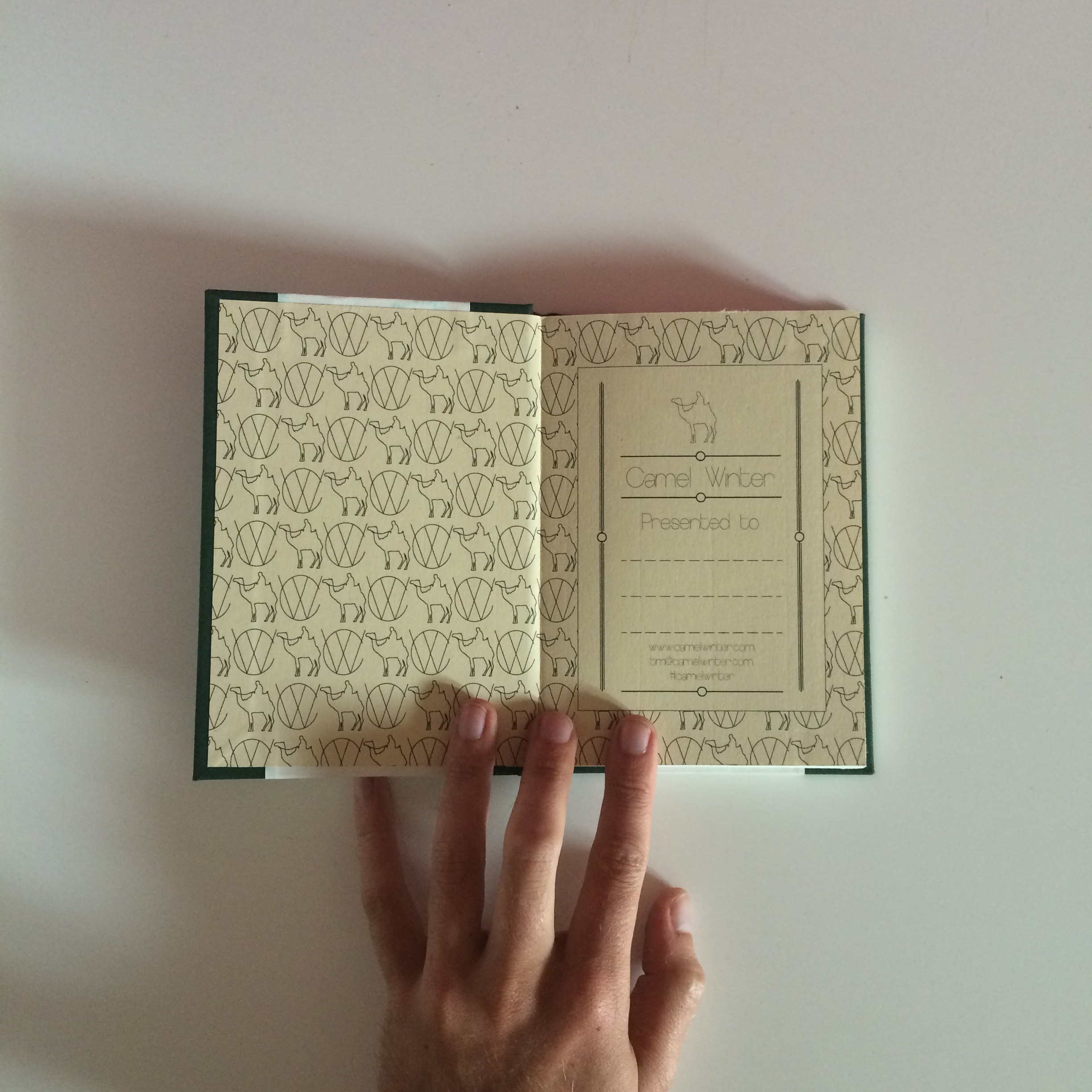 Custom Camel Winter Endpapers with integral Ex Libris