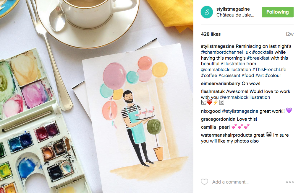 Emma Block's visited Chateau de Stylist with Stylist Magazine and was commissioned to illustrate scenes in real time when there. The event allowed digital influencers to watch an edition of the magazine be put together.