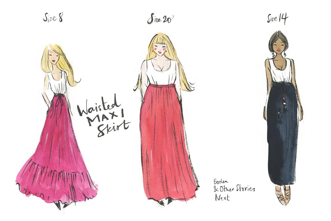 Illustrated Maxi Skirt