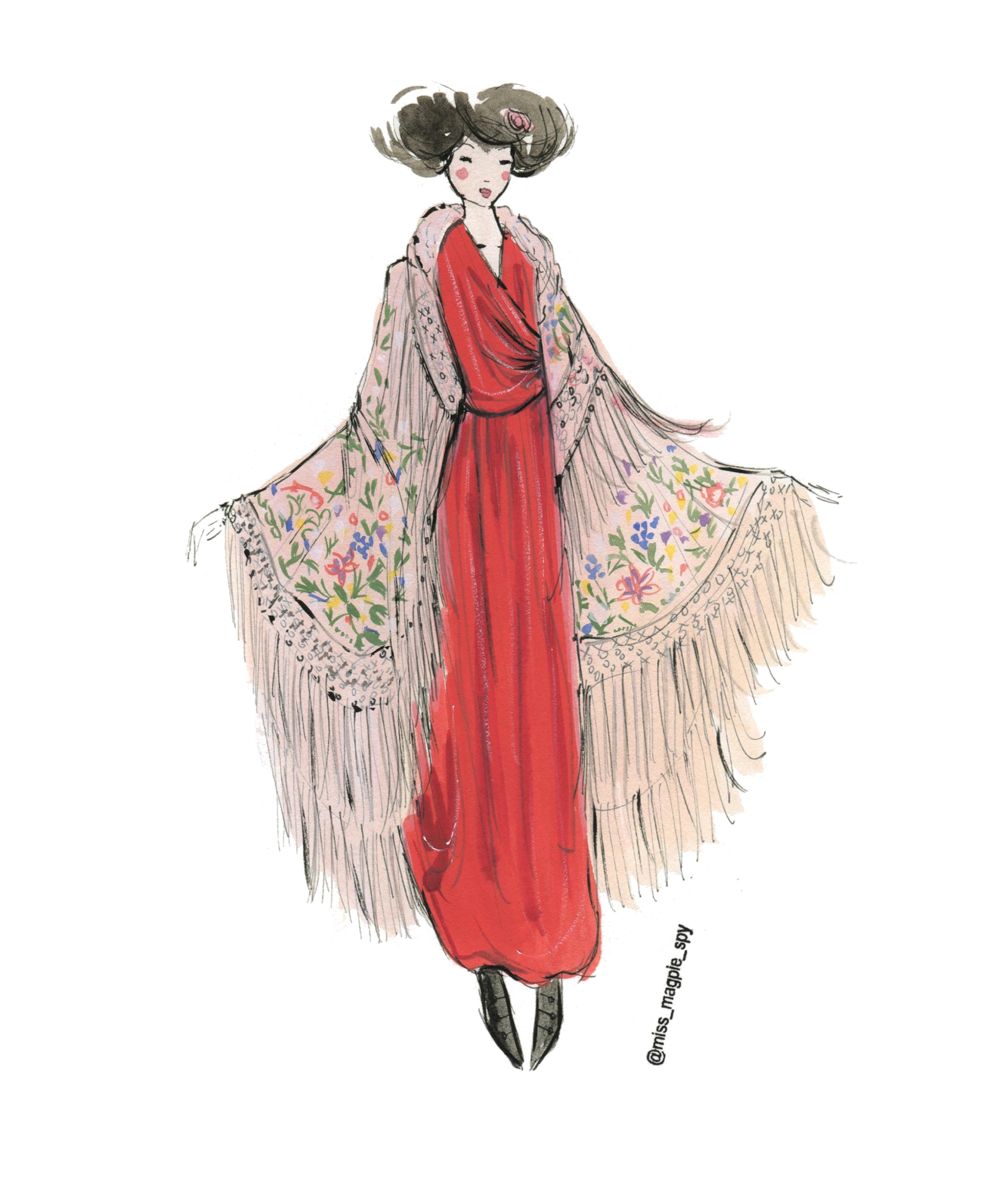 Illustration of a Poiret velvet dress with a embroidered tassled shawl