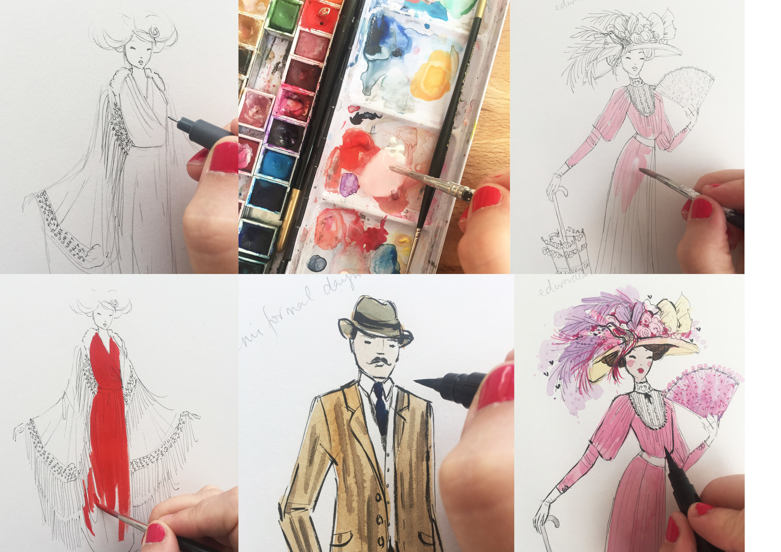 I pencilled illustrations first, then added fineliner, watercolour and then black brushmarker