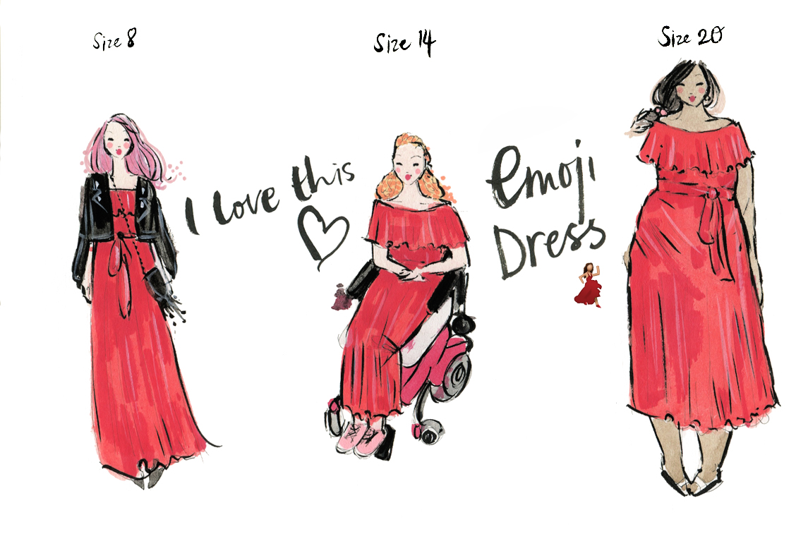 emoji-red-dress