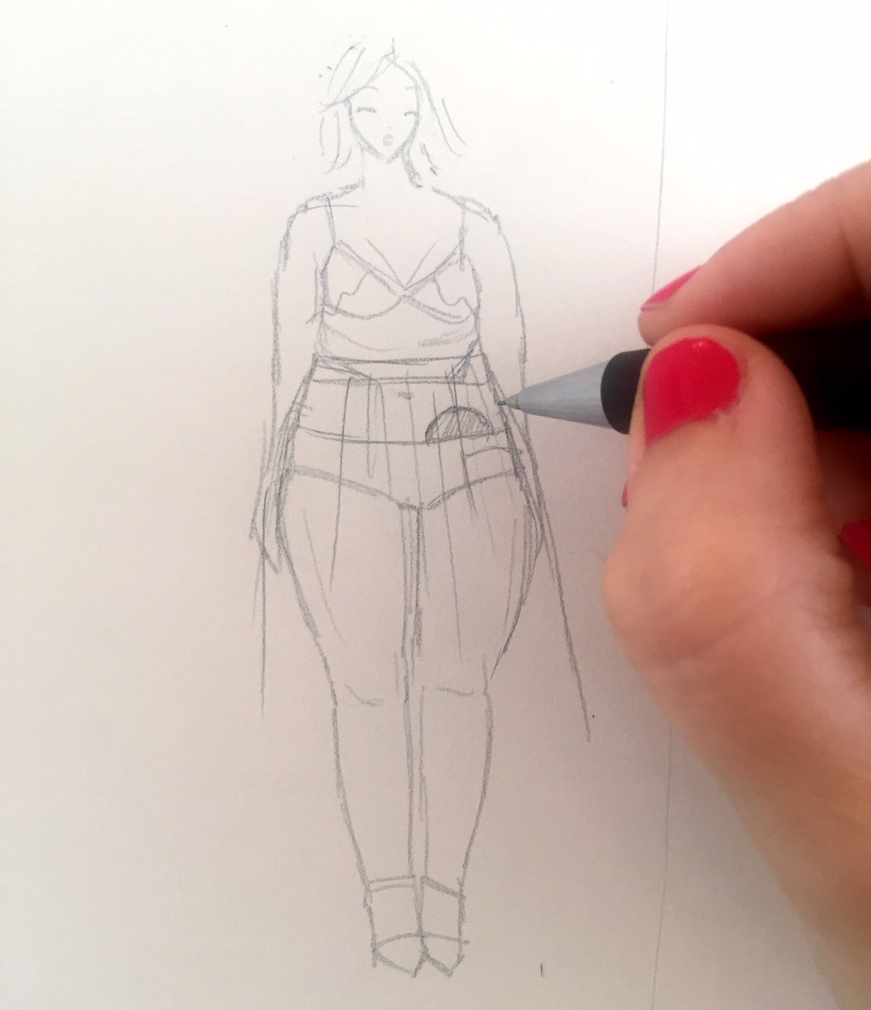Pencil sketch of model with a stoma, showing how the high waistband means it won't be uncomfortable.